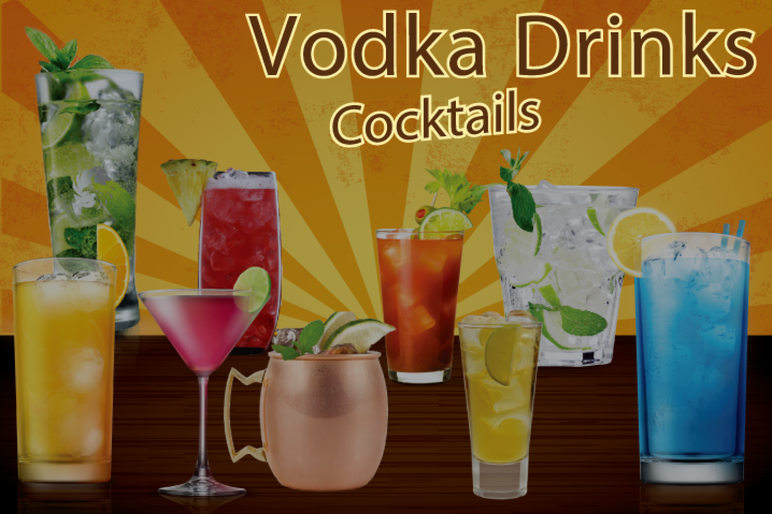 10 best Vodka Cocktails recipes that are easy to make at home and at any time. Infographic
