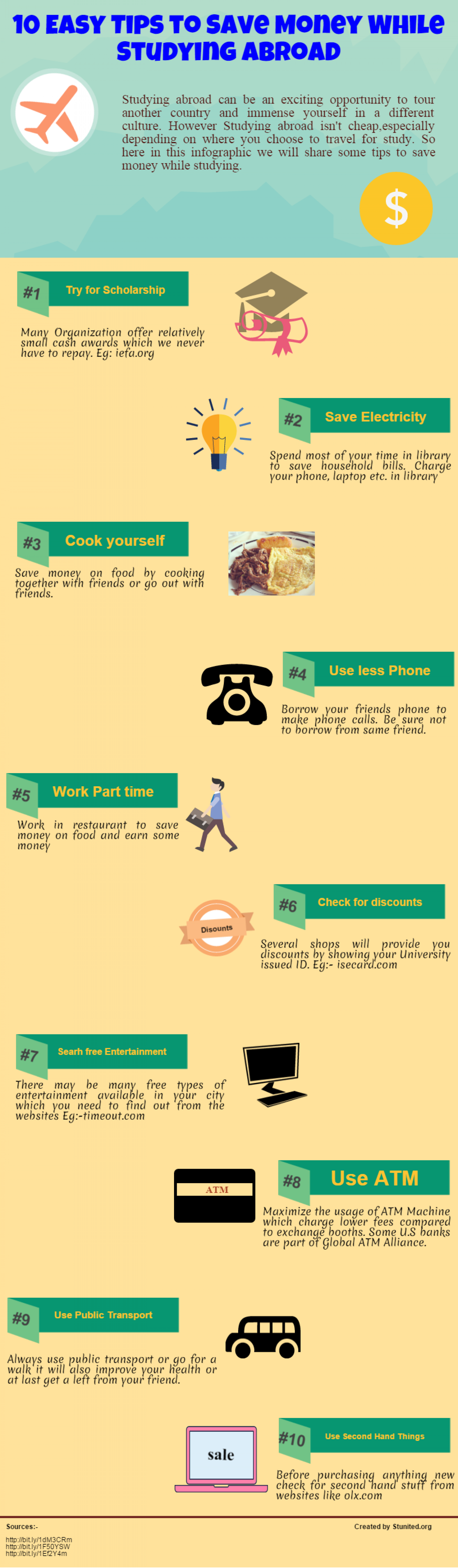 10 Easy Step to Save Money While Studying Abroad Infographic