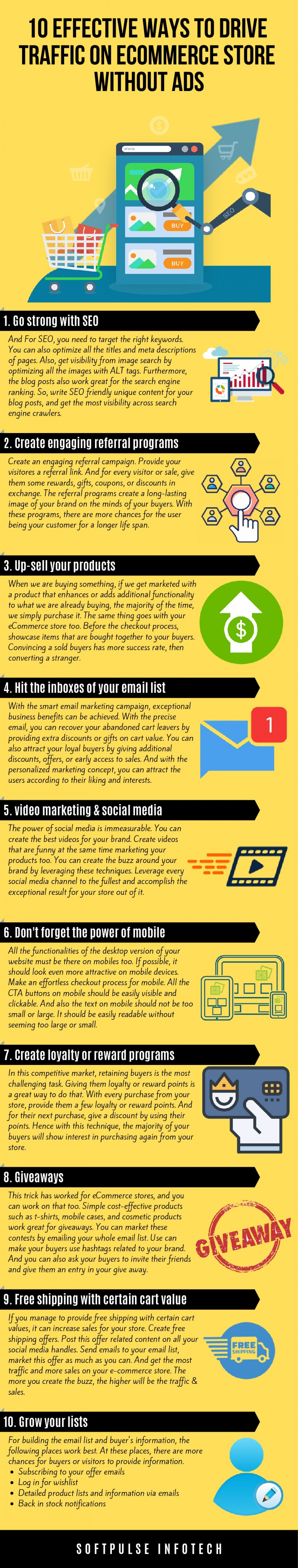10 Effective Ways to Drive Traffic on eCommerce Store Without Ads Infographic