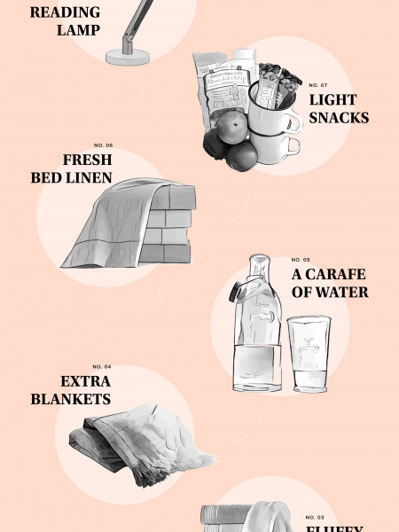10 Essential Items for a Cozy Guest Bedroom Infographic
