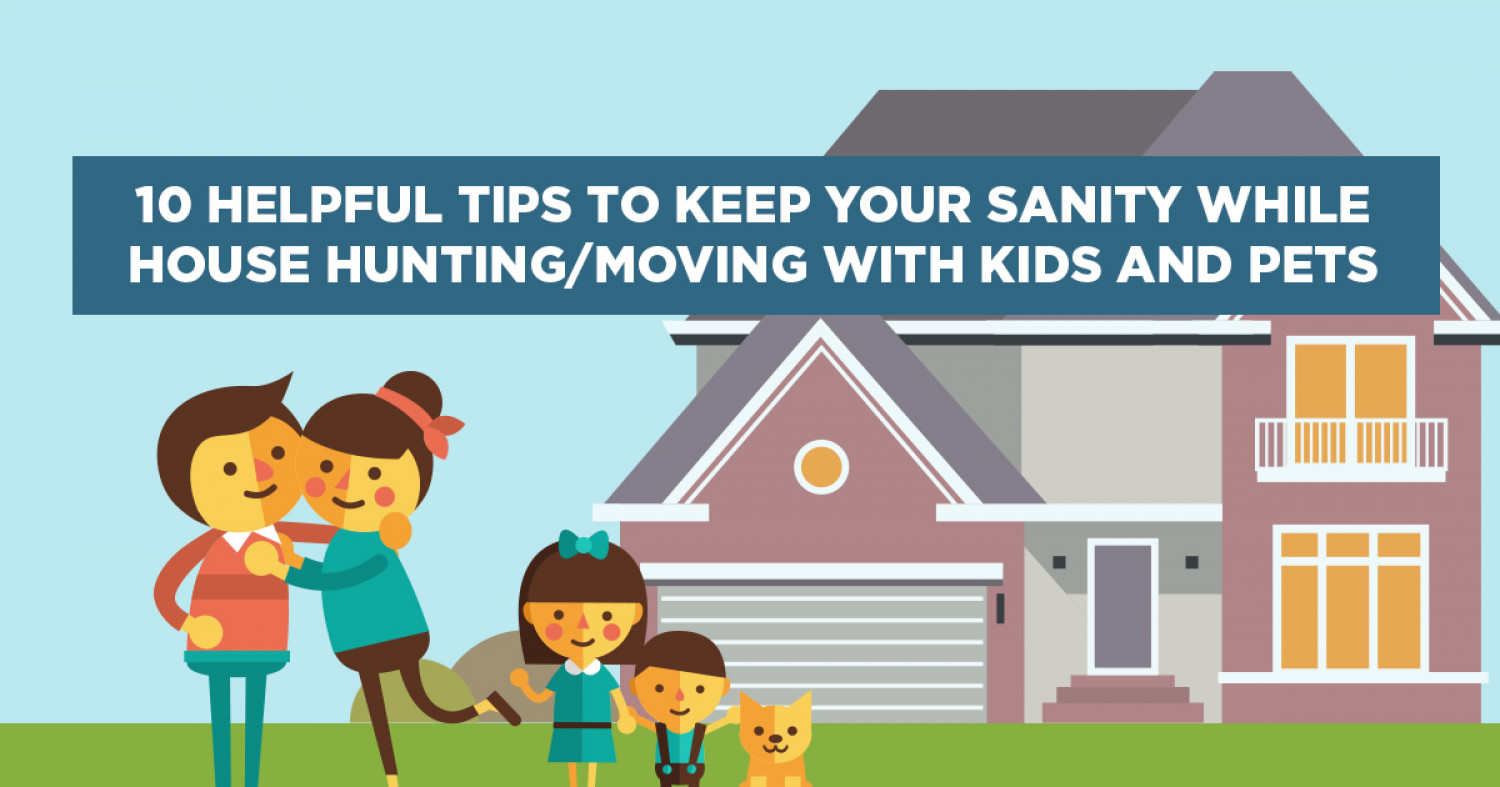10 Helpful Tips to Keep Your Sanity While House Hunting/Moving with Kids and Pets Infographic