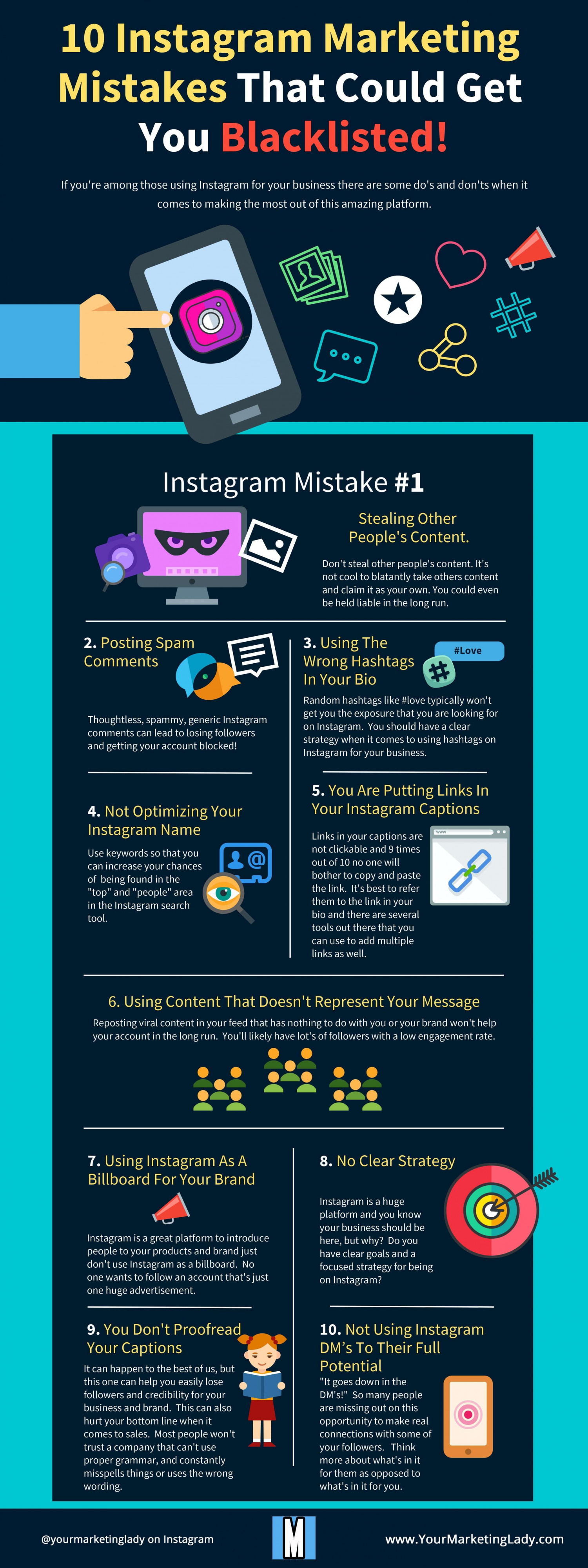 10 Instagram Marketing Mistakes That Could Get You Blacklisted! Infographic