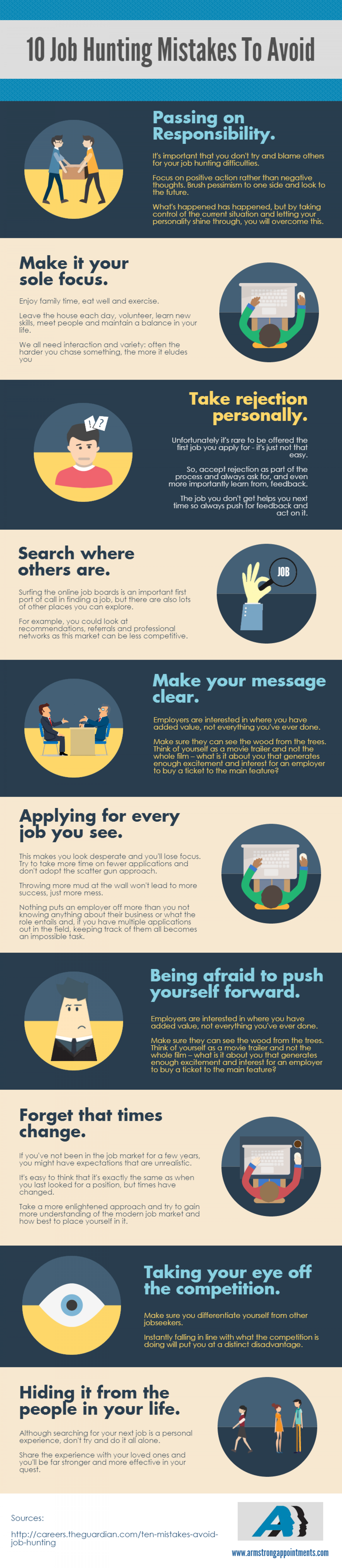 10 Job Hunting Mistakes To Avoid Infographic