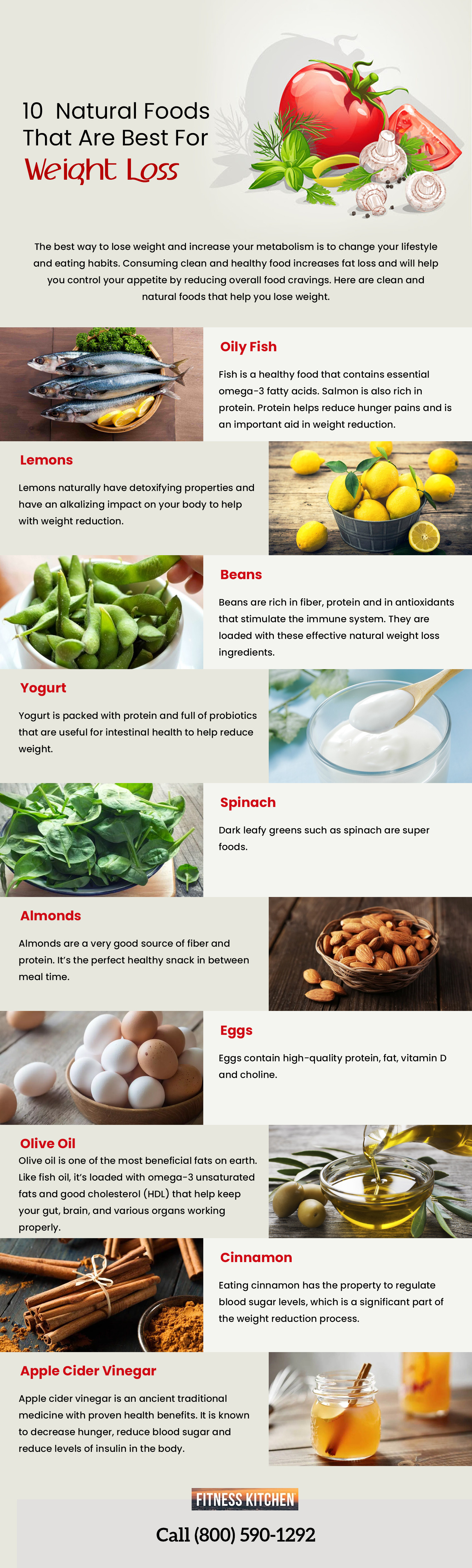 10 Natural Food that are Best for Weight Loss Infographic