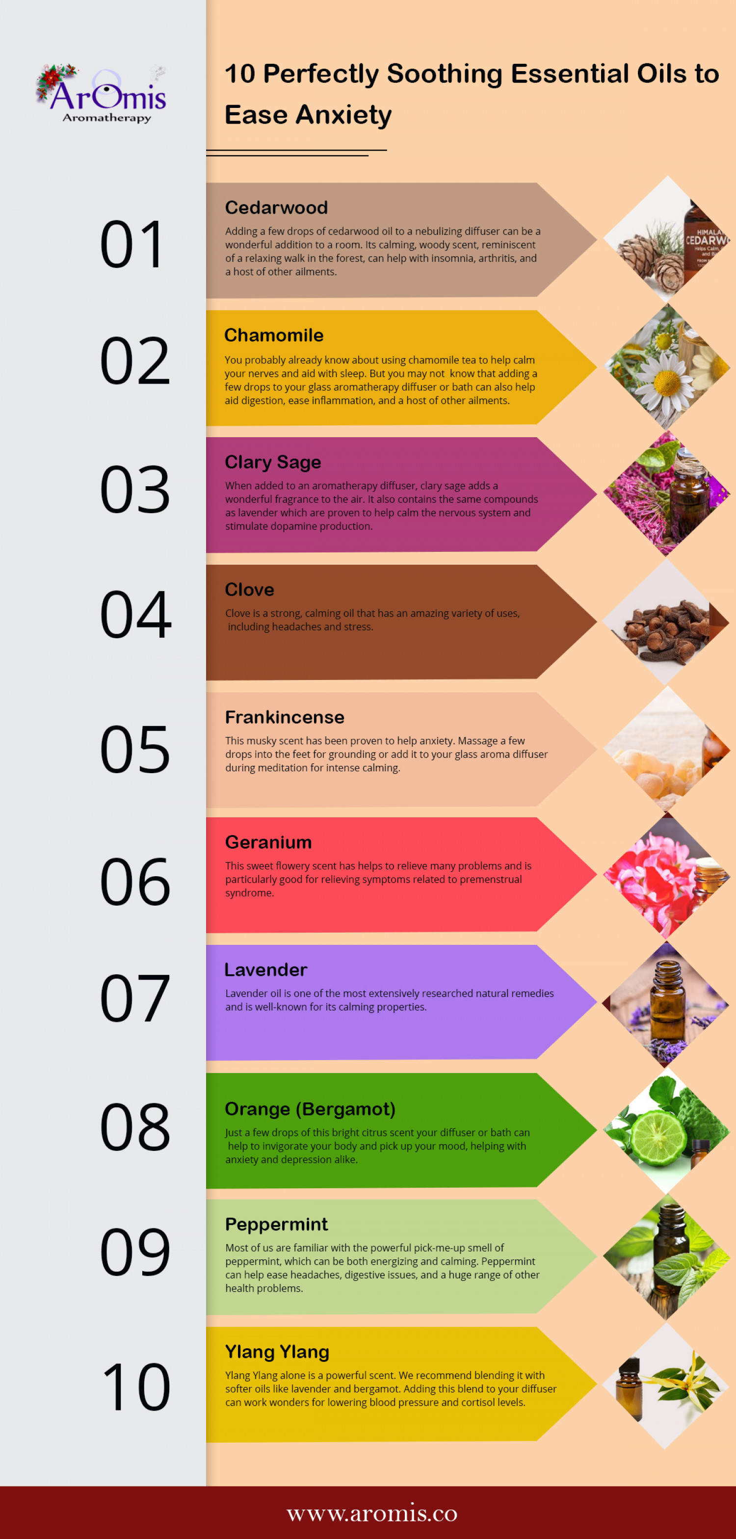 10 Perfectly Soothing Essential Oils to Ease Anxiety Infographic