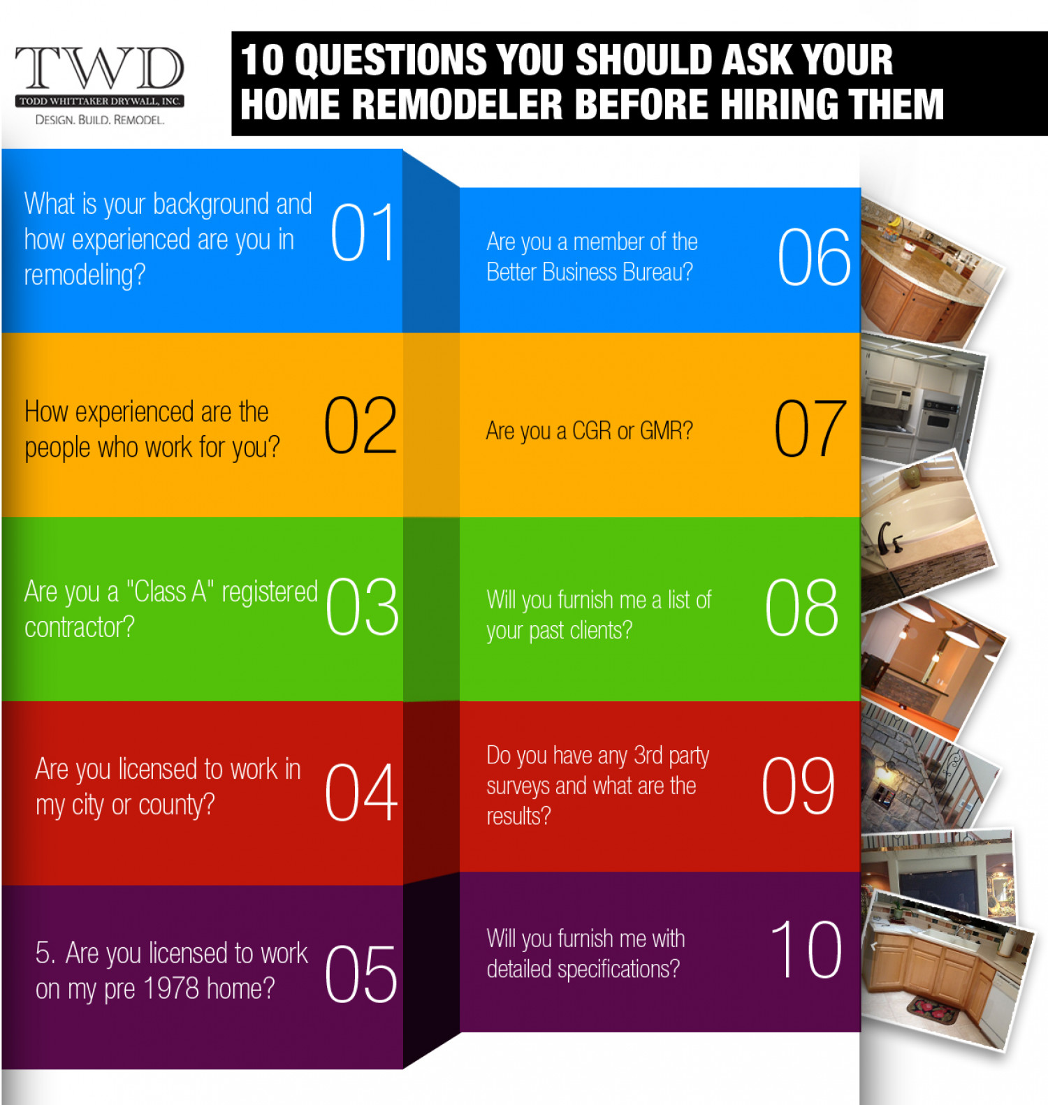 10 Questions You Should Ask Your Home Remodeler before Hiring Them Infographic