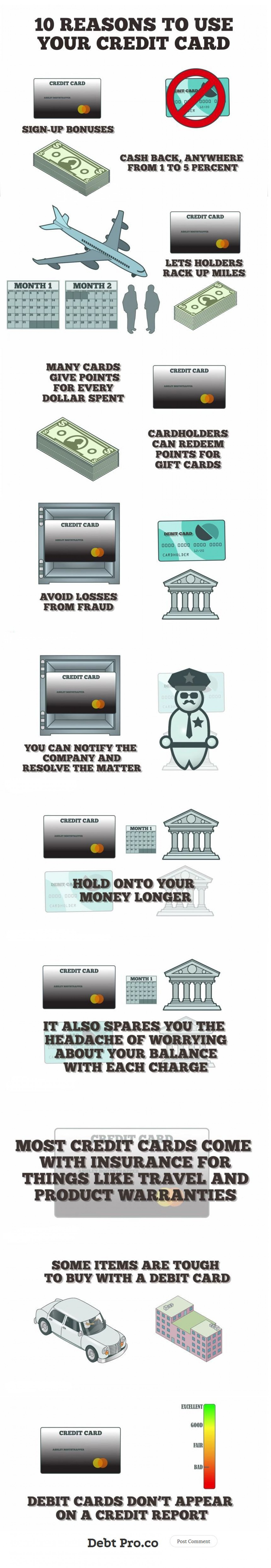 10 Reasons For Using A Credit Card, You Might Not Know - DebtPro Infographic