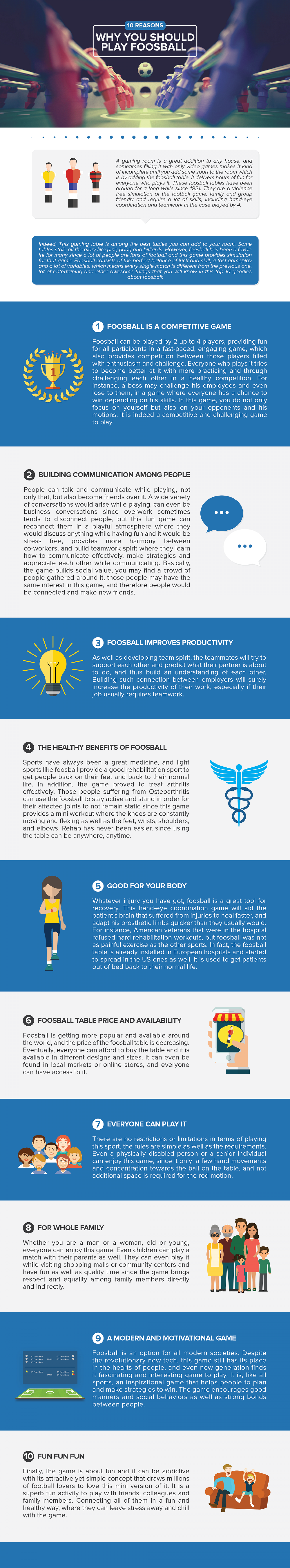 10 Reasons To Play Foosball Infographic