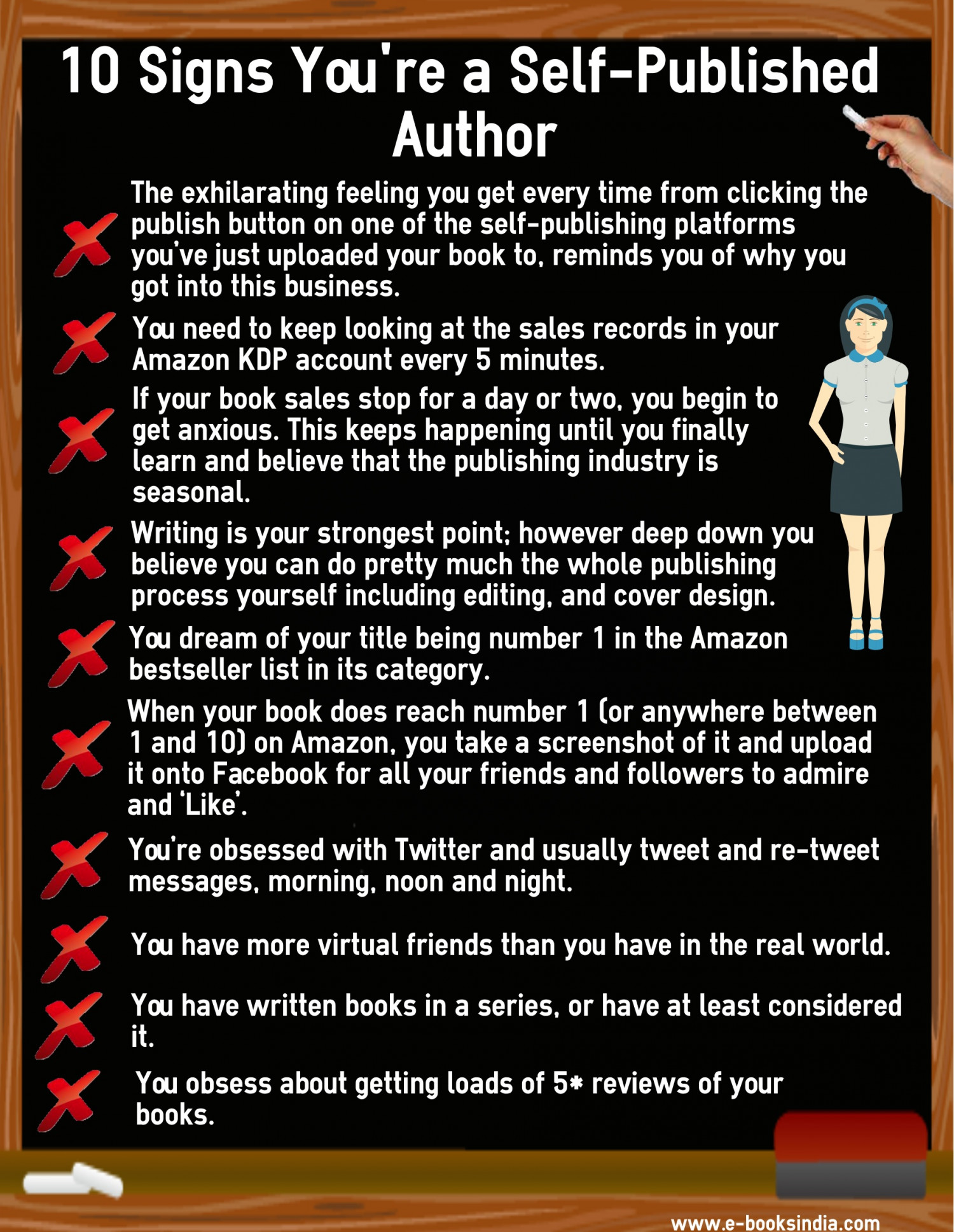 10 Signs You're a Self-Published Author Infographic
