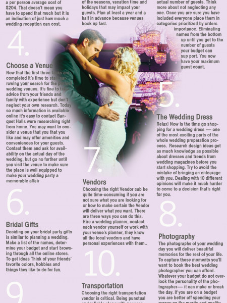 10 steps Plan Perfect Wedding  Infographic