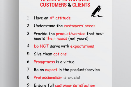 10 Steps To Win Over Customers And Clients Infographic