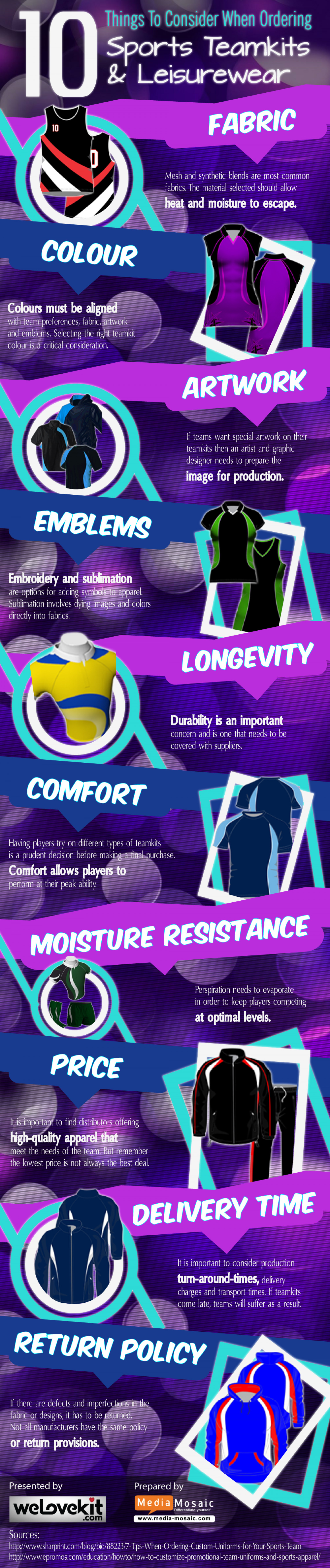 10 Things to Consider When Ordering Sports Teamkits and Leisurewear Infographic