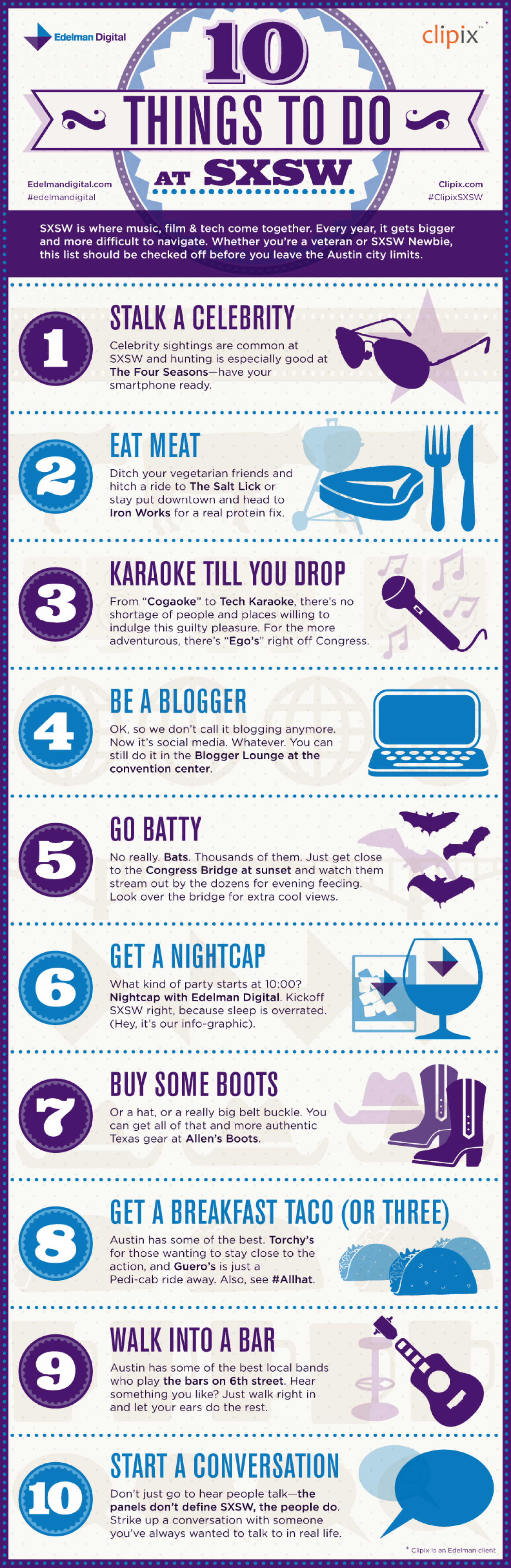 10 Things To Do at SXSW Infographic