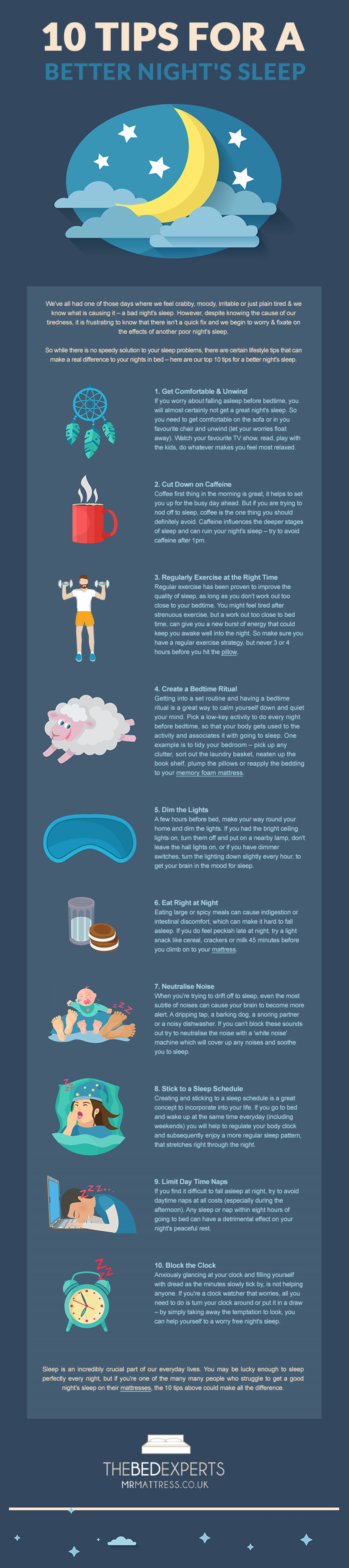 10 Tips For A Better Night's Sleep Infographic