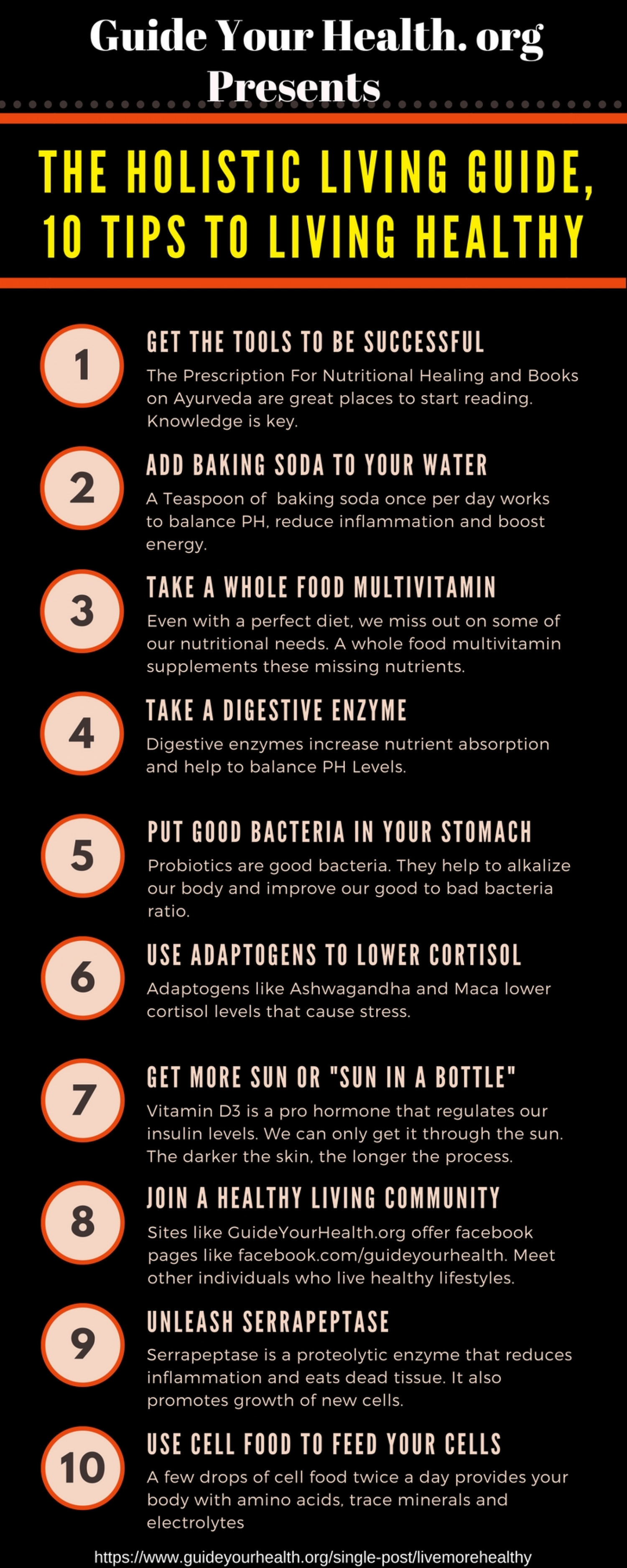 10 tips To Healthy Holistic Living Infographic