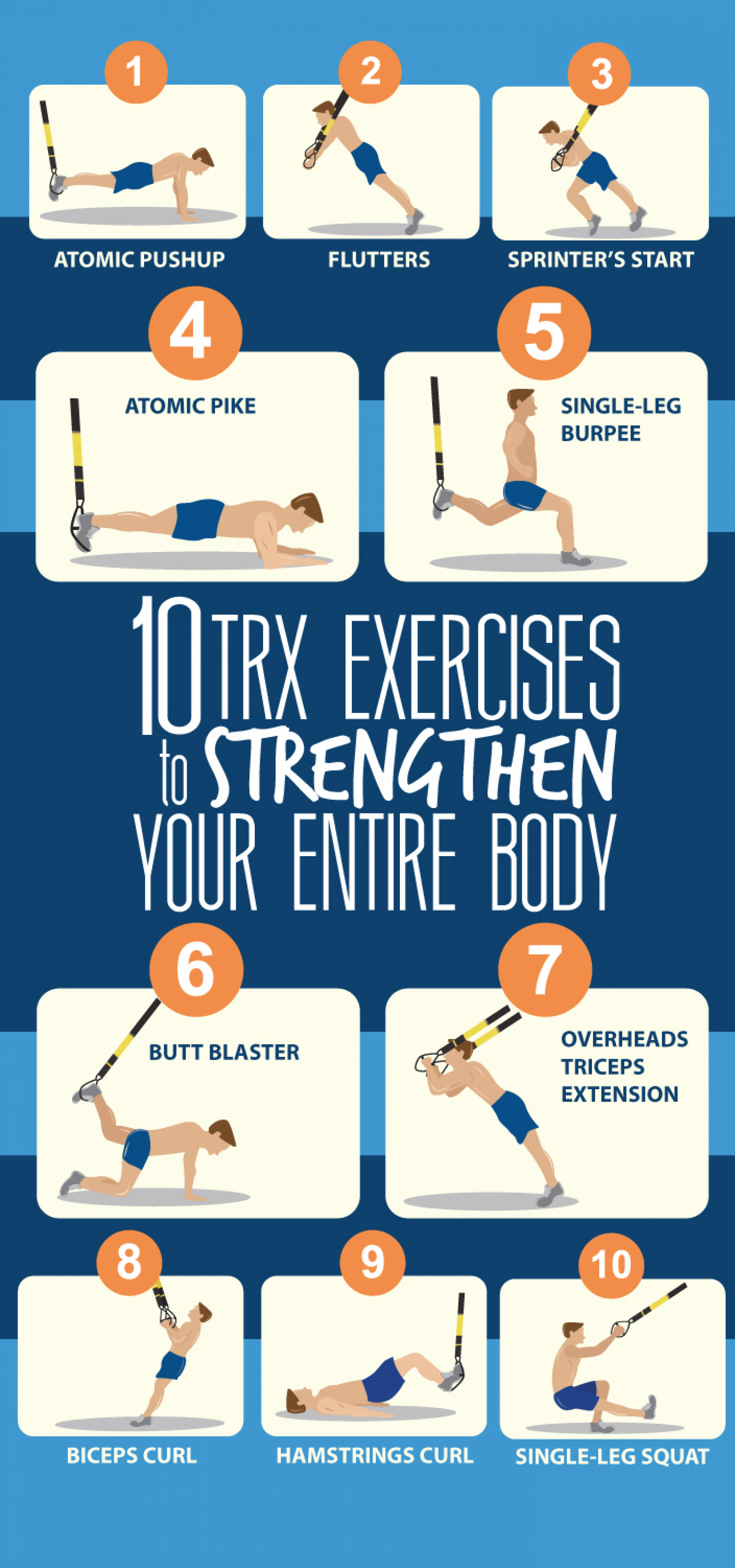 10 TRX Exercises to Strengthen Your Entire Body Infographic