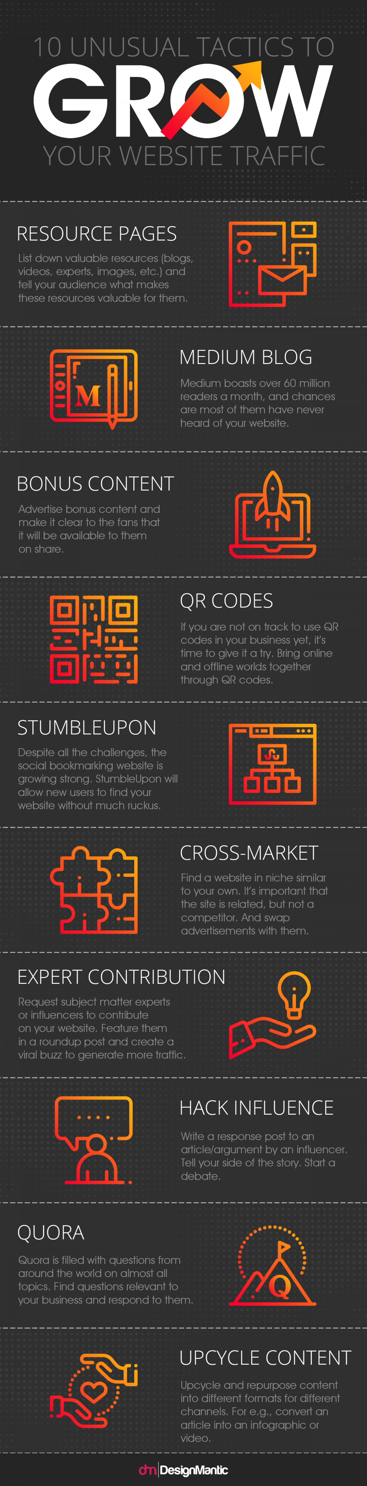10 Unusual Ways To Grow Your Website Traffic Infographic