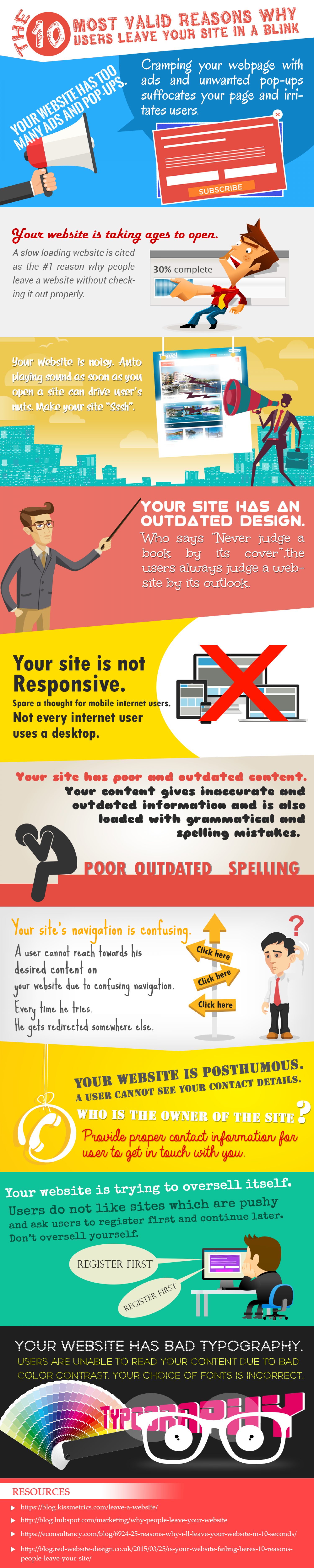 10 Valid Reasons Why People Don't Like to Stick Around on Your Website Infographic