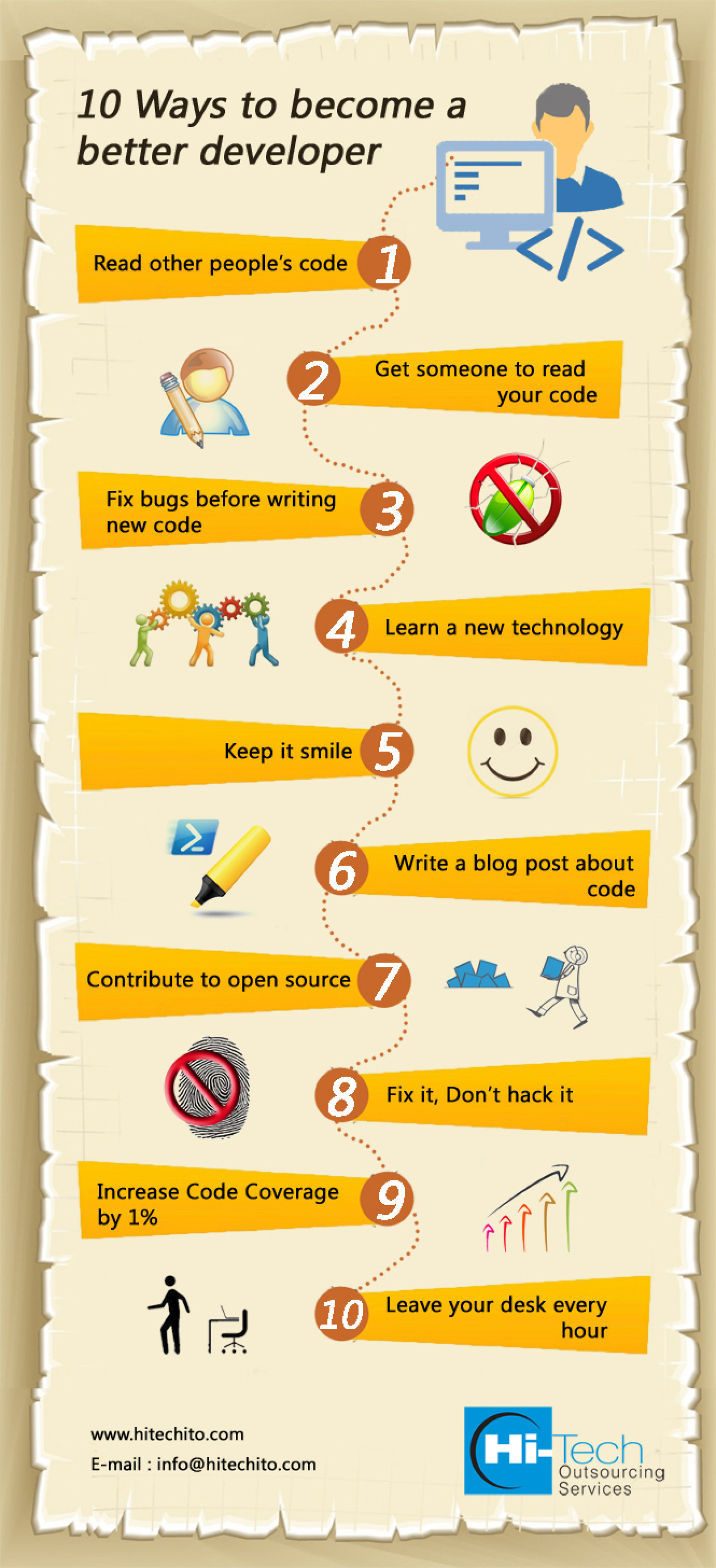 10 Ways to Become A Better Developer Infographic
