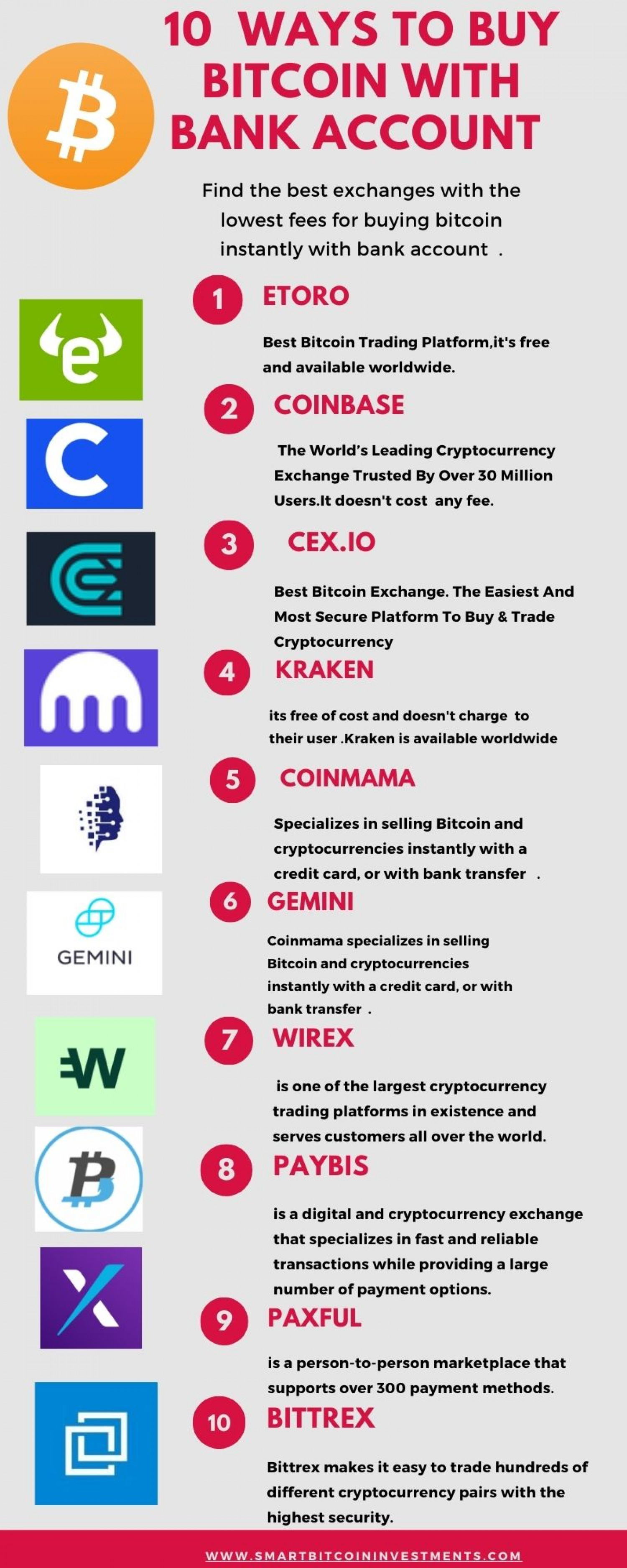 10 Ways To Buy Bitcoin With Bank Account Infographic