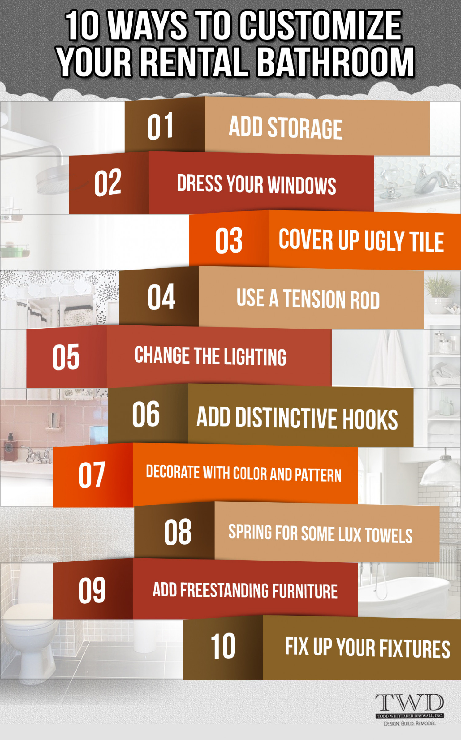 10 Ways to Customize Rental Bathroom Infographic