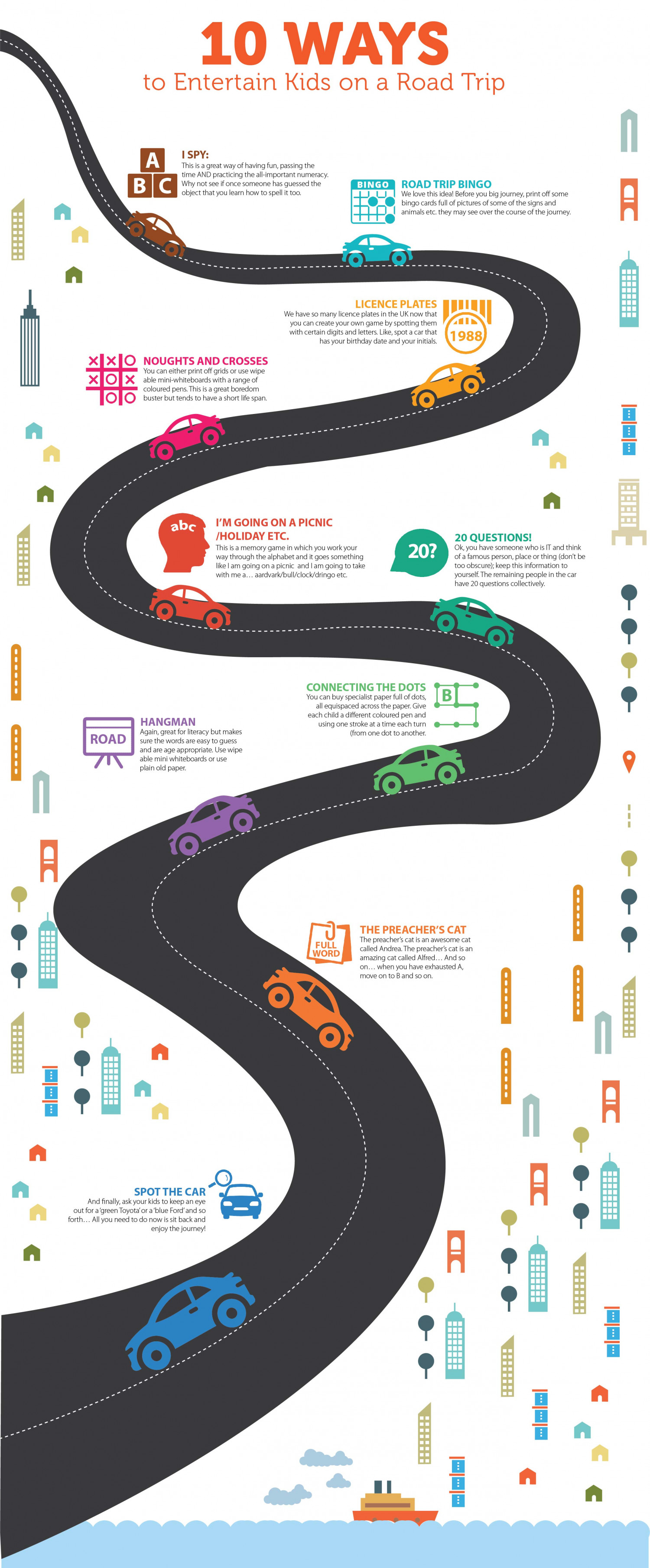10 Ways to Entertain Kids on a Road Trip Infographic