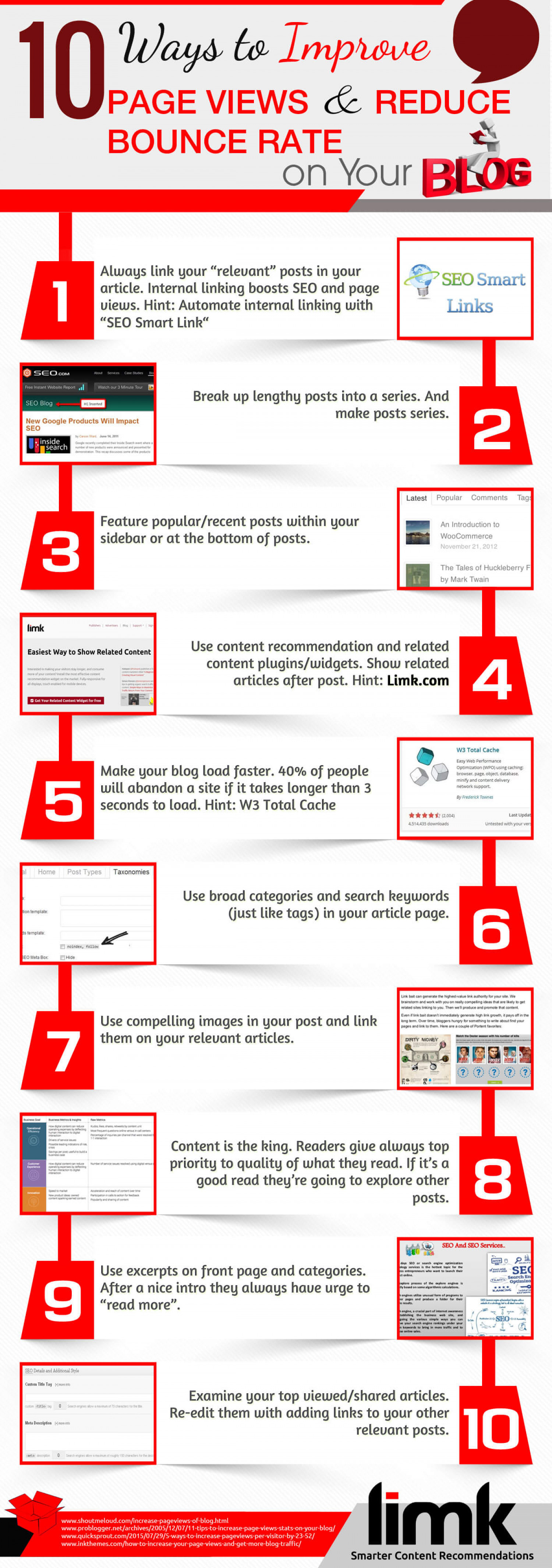 10 Ways to Improve Page Views & Reduce Bounce Rate on your Blog Infographic