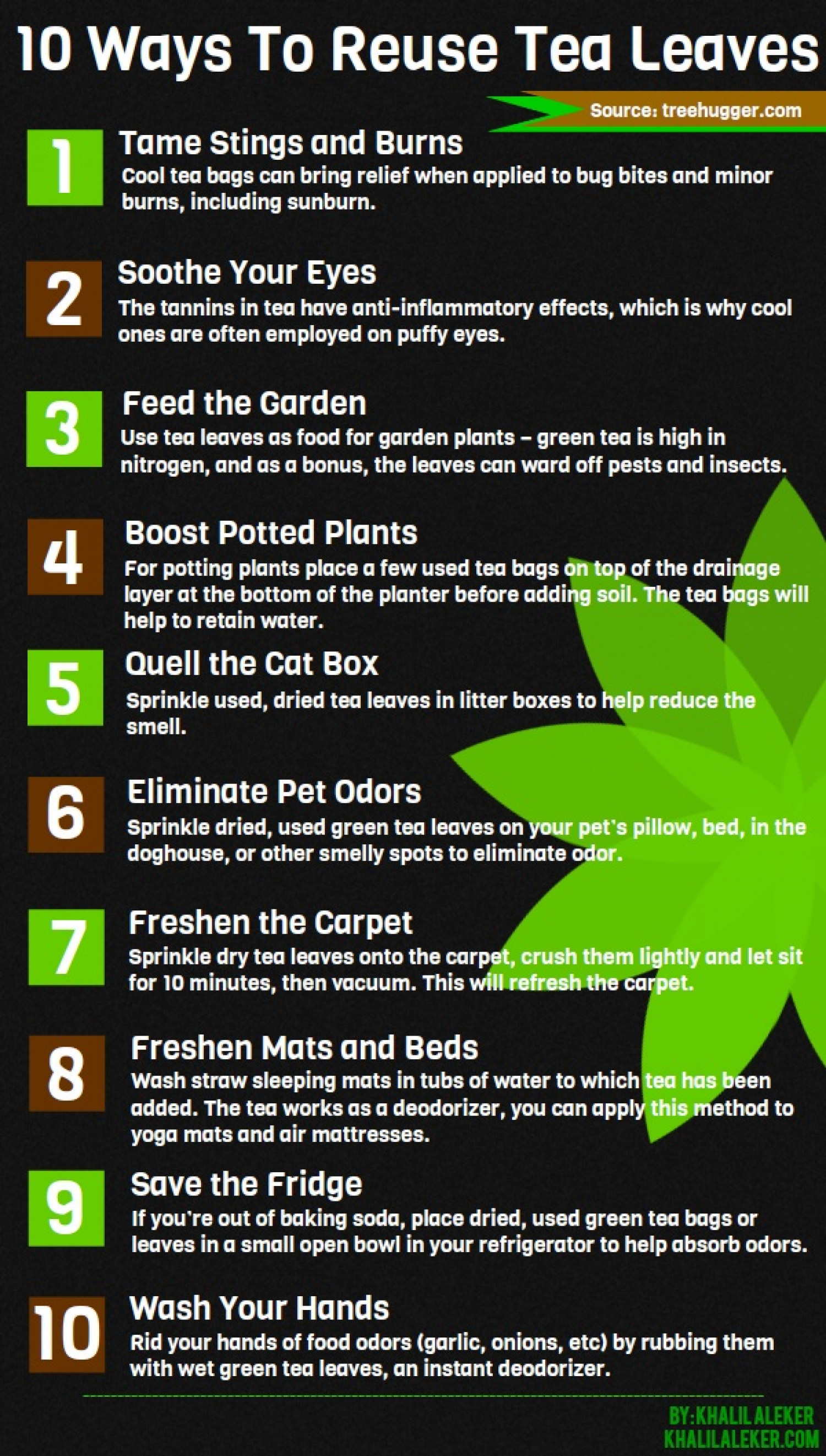 10 Ways to Reuse Tea Leaves Infographic