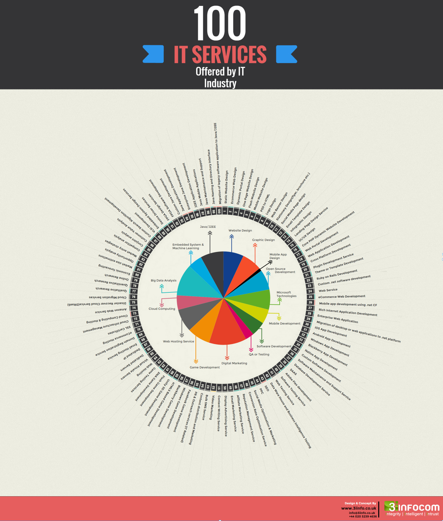 100 IT Services Offered By IT Industry Infographic
