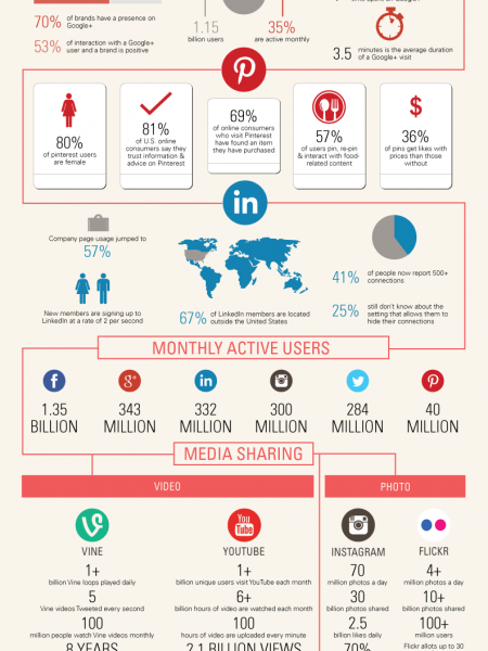 100 Social Networking Statistics and Facts for 2014 Infographic