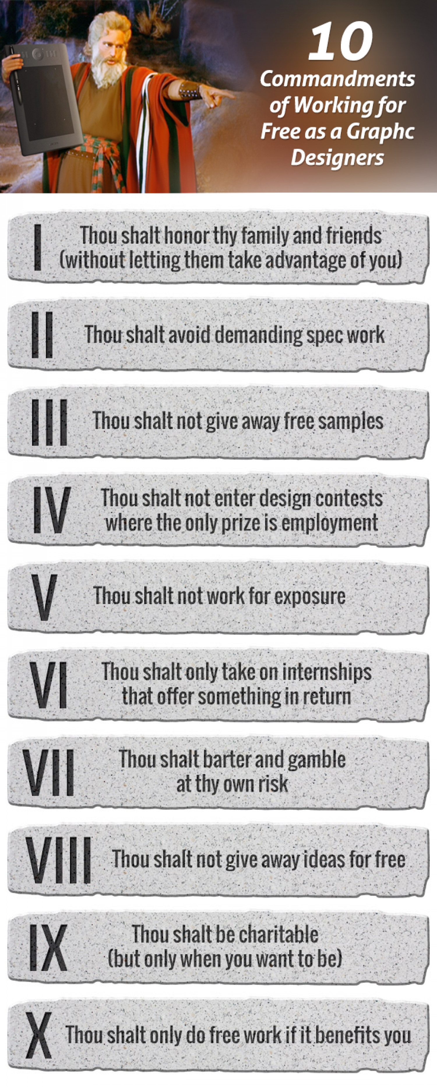 10 Commandments of Working for Free as a Graphic Designer Infographic