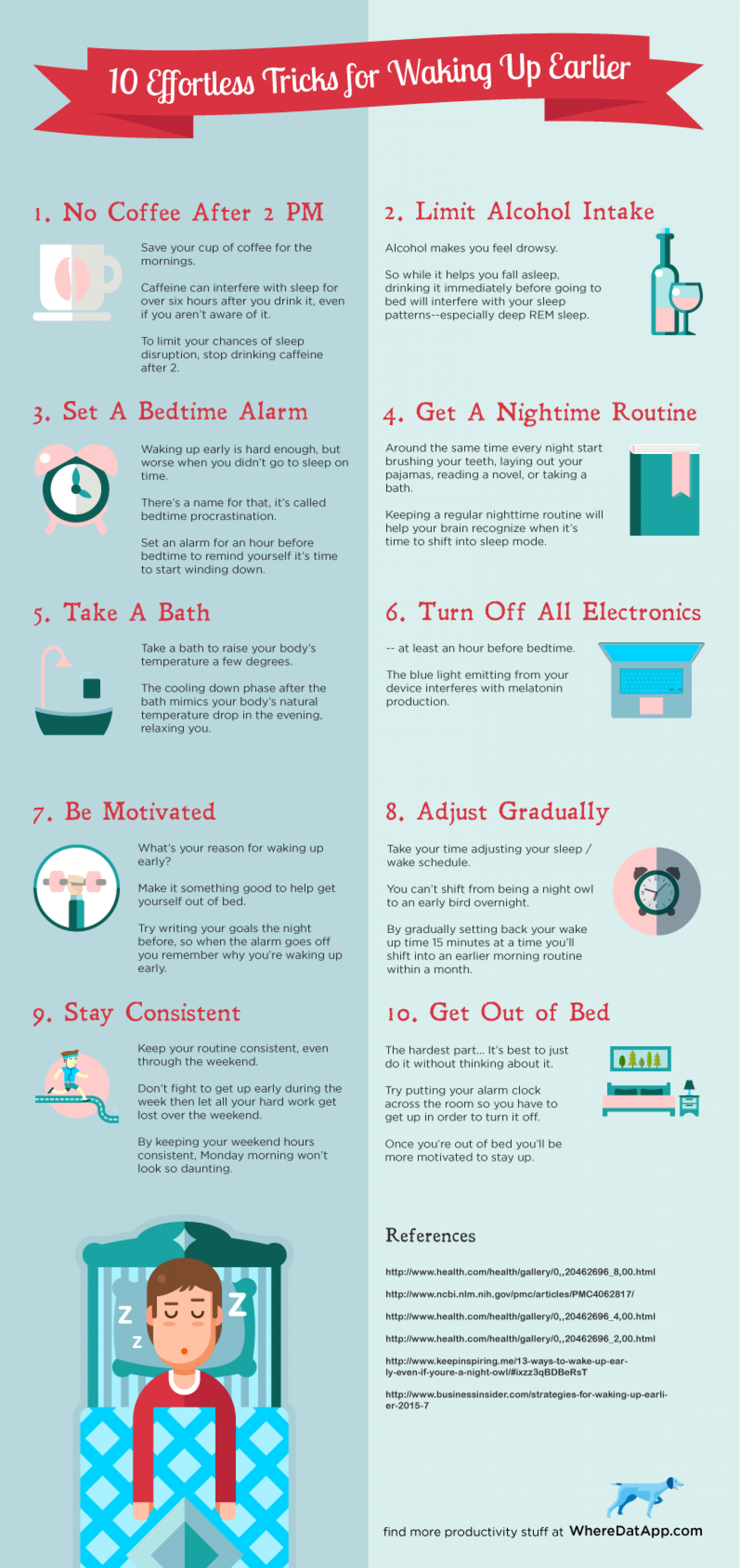 10 Effortless Tricks to Waking up Earlier Infographic