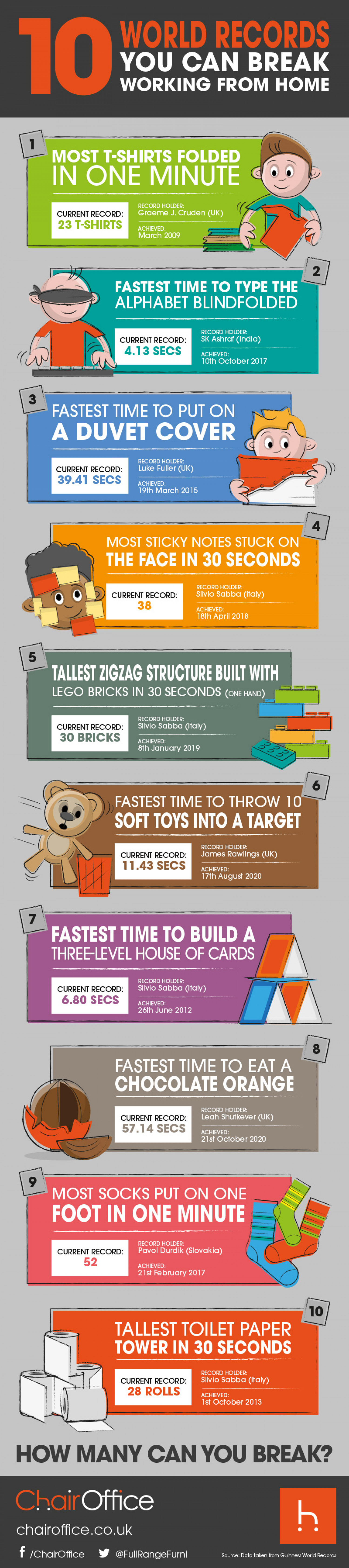 10 World Records You Can Break While Working From Home Infographic