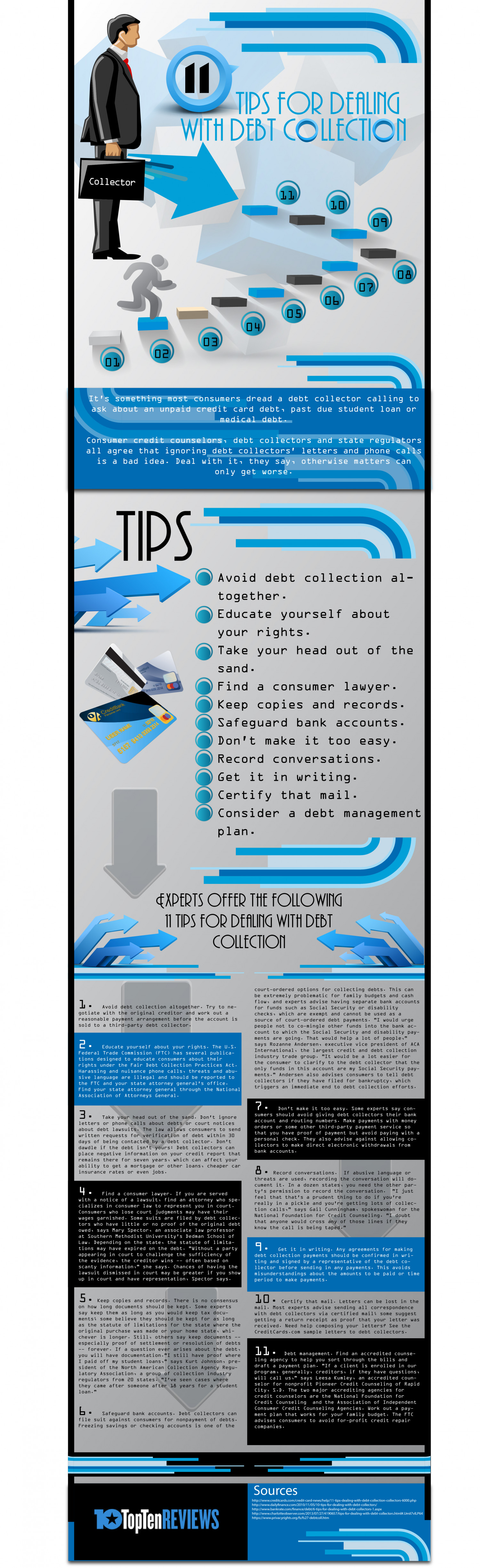 11 Tips for dealing with debt collectors Infographic