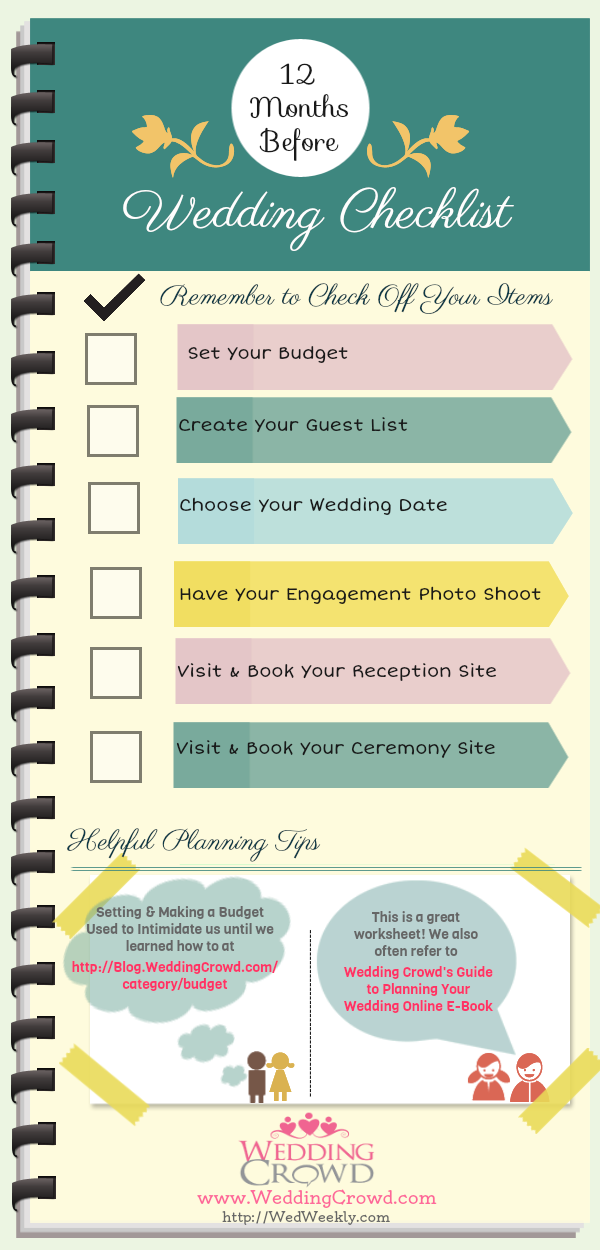 12 Months Before Wedding Planning Checklist | Visual.ly
