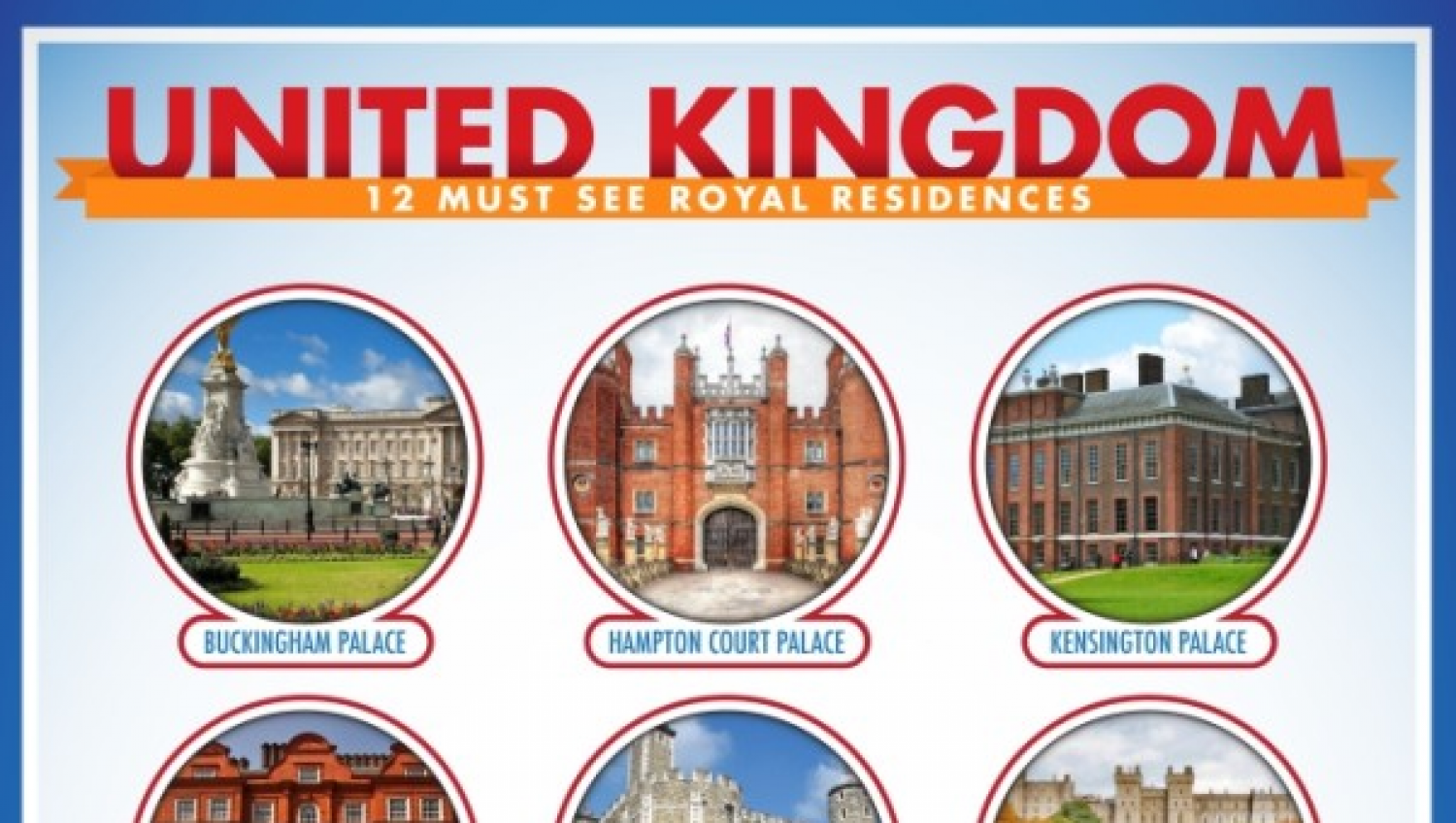 United Kingdom: 12 Must See Royal Residences Infographic