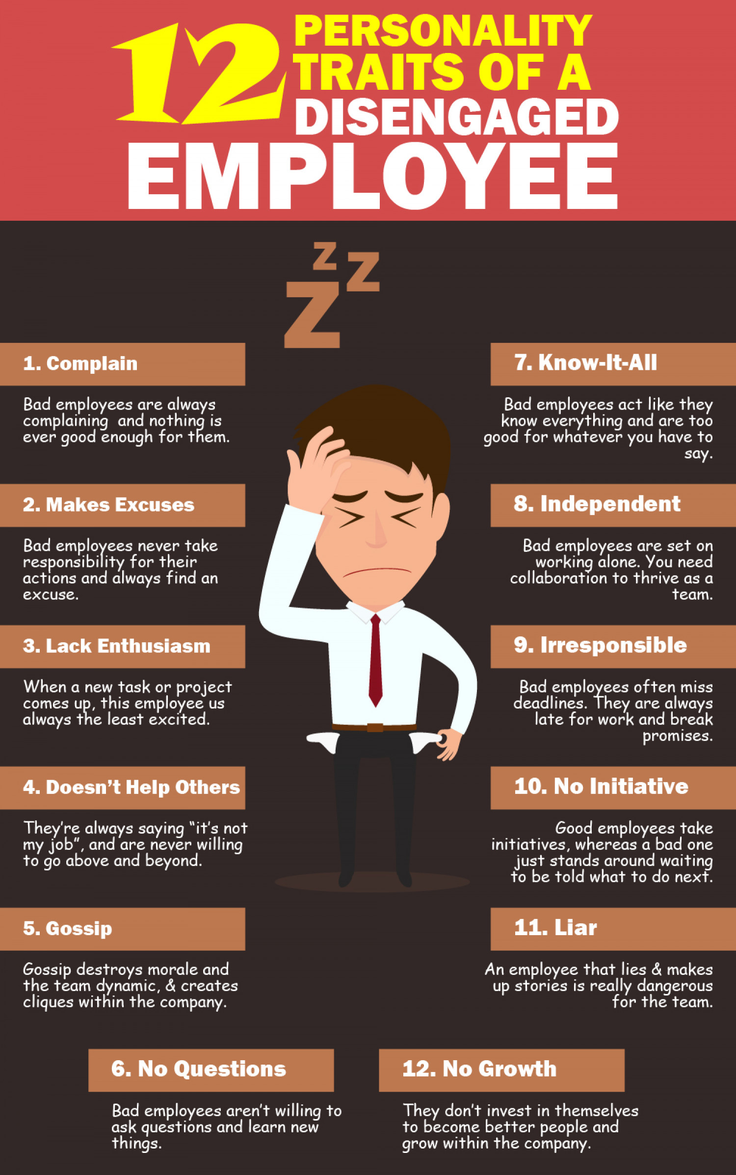 12 Signs Of Disengaged Employee Infographic