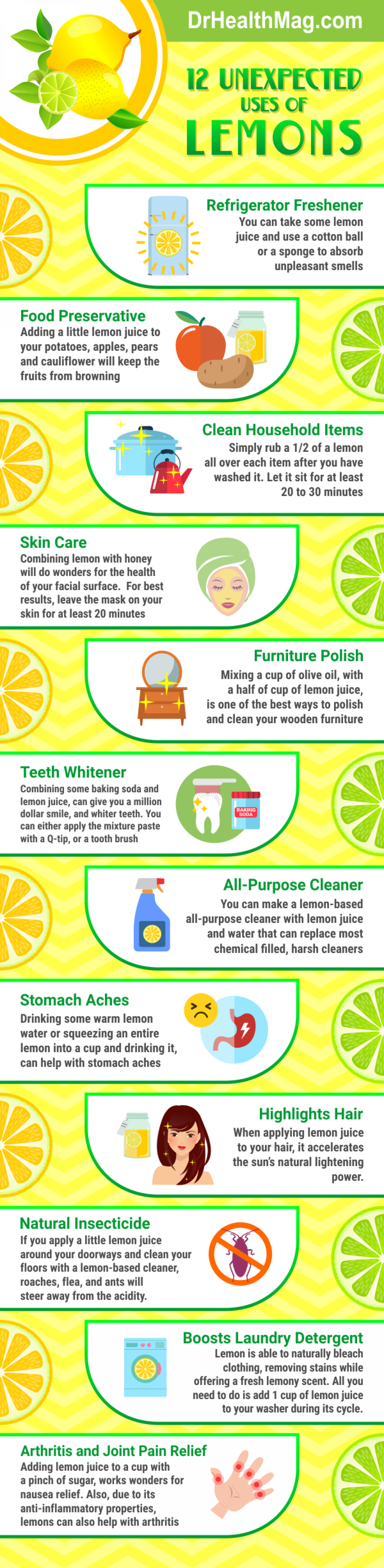 12 Surprising Uses of Lemons Infographic