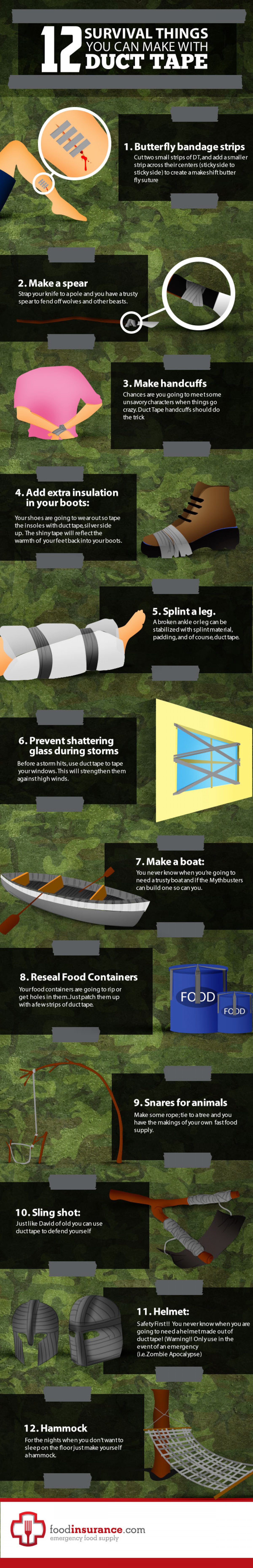 12 Survival Things You Can Make With Duct Tape Infographic