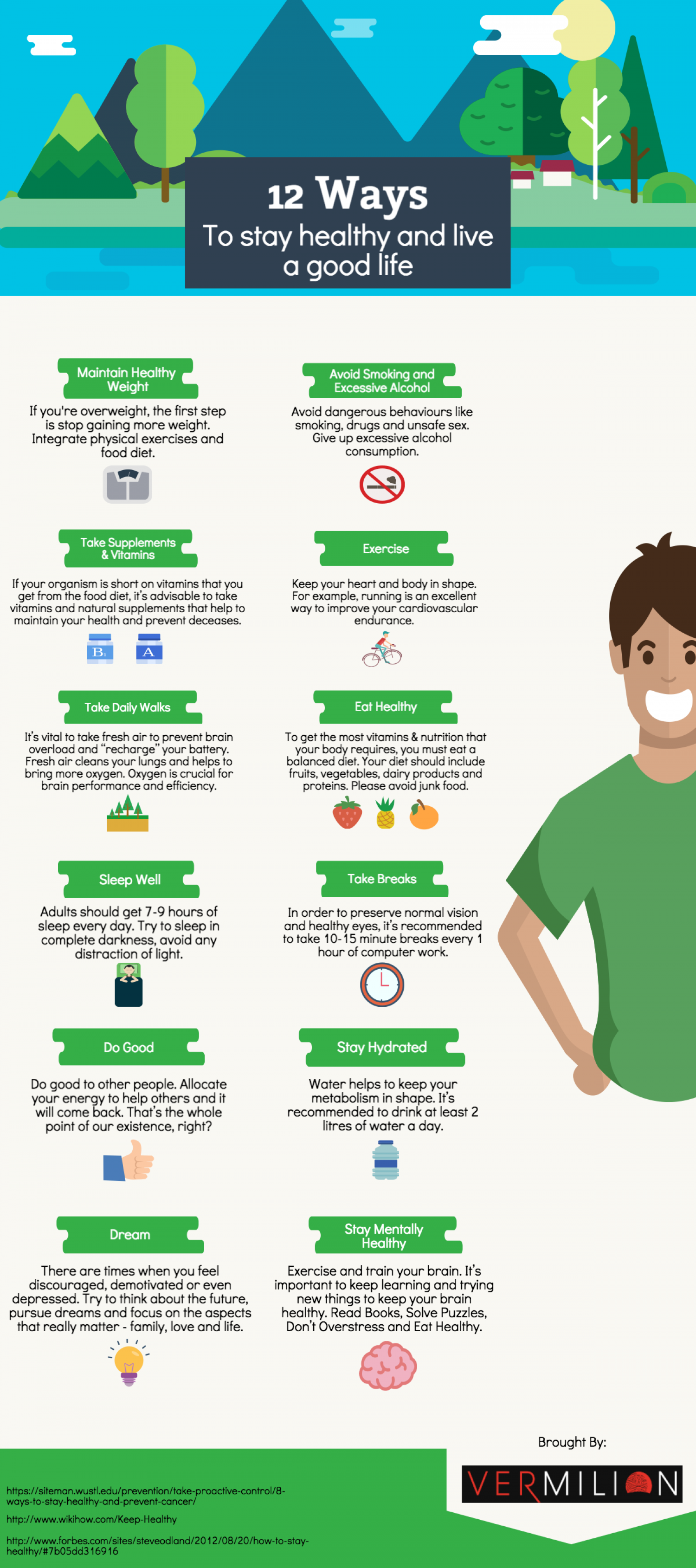 12 Ways to Stay Healthy and Live a Good Life Infographic