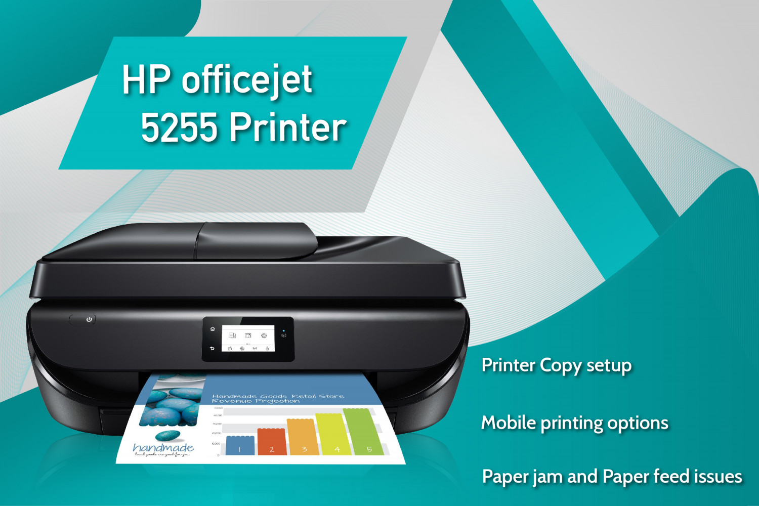 123 HP Officejet 5255 Printer All In one solution Infographic