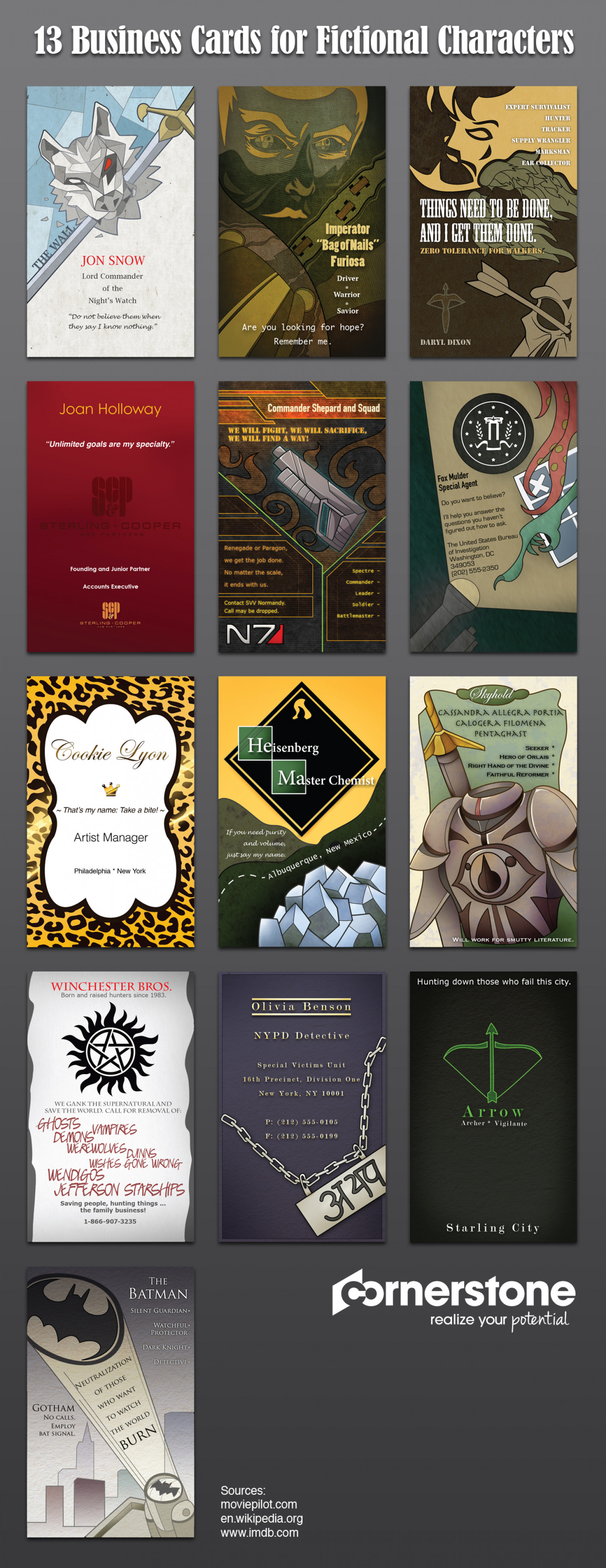 13 Business Cards for Fictional Characters Infographic