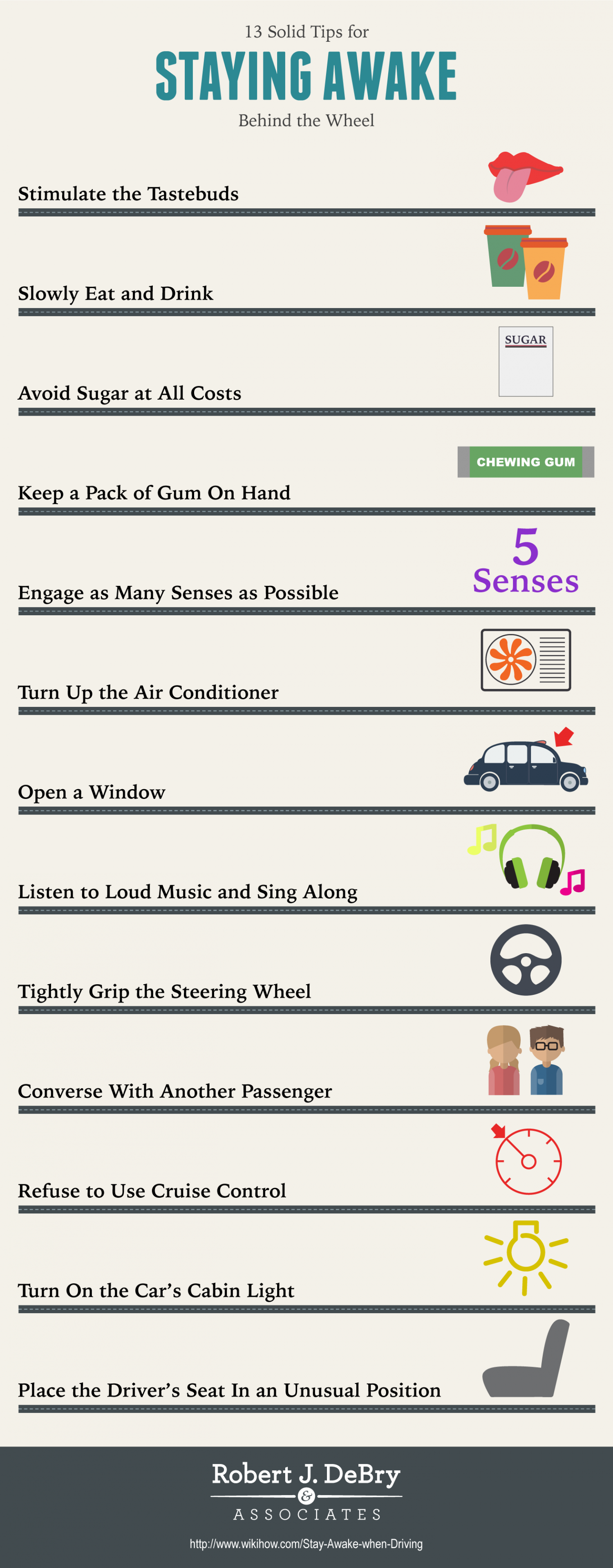 13 Solid Tips for Staying Awake Behind the Wheel Infographic
