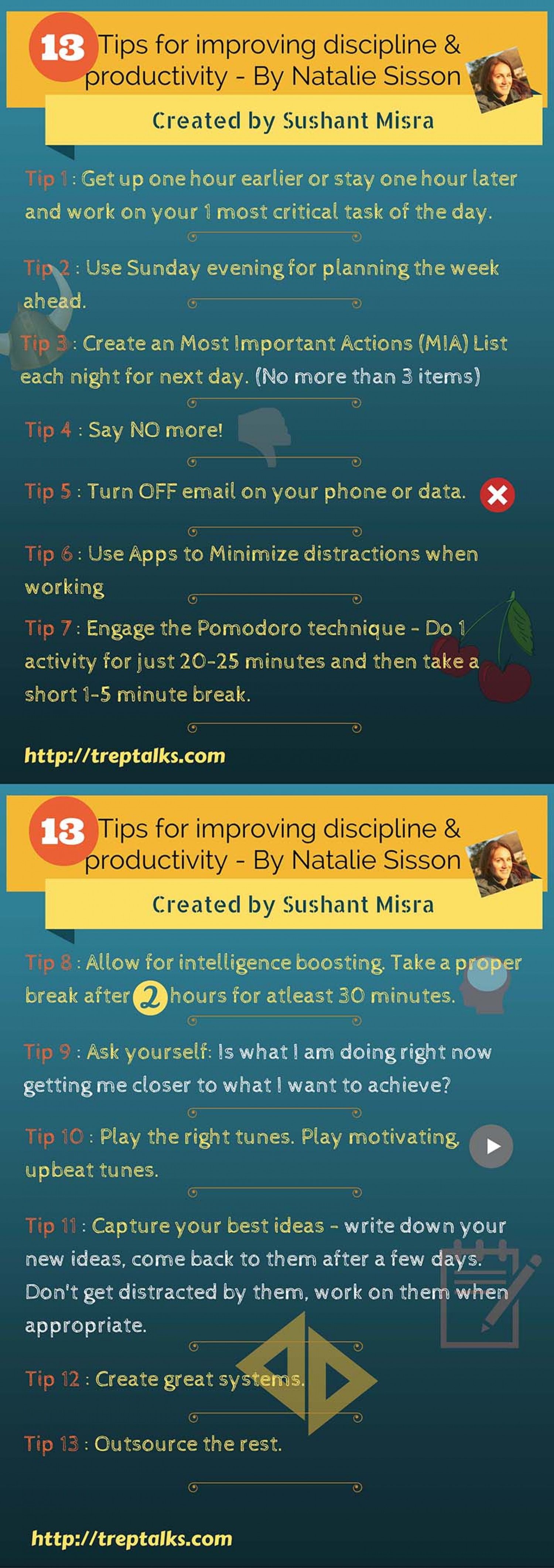 13 Tips for Improving Discipline & Productivity Infographic