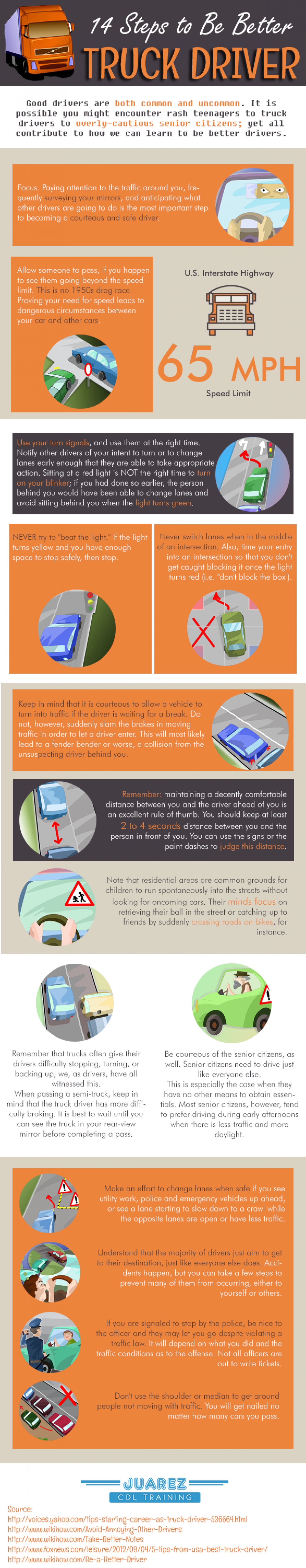 14 Steps to Be Better Truck Driver Infographic