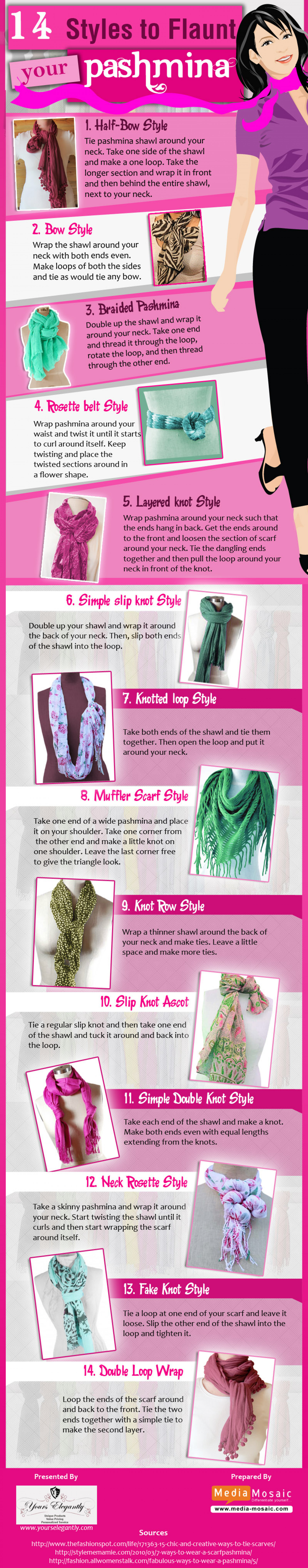 14 Styles to Flaunt your Pashmina Infographic