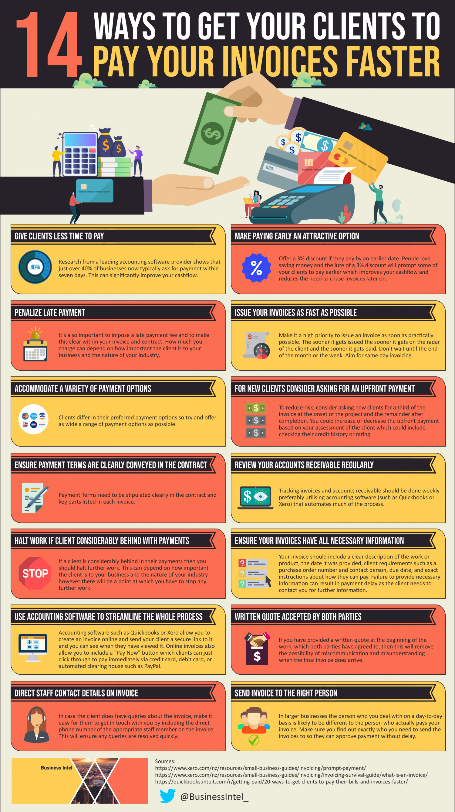 14 Ways To Get Your Clients to Pay Your Invoices Faster Infographic