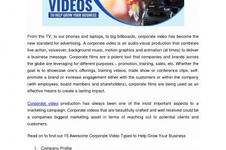15 Awesome Corporate Video Types to Help Grow Your Business Infographic