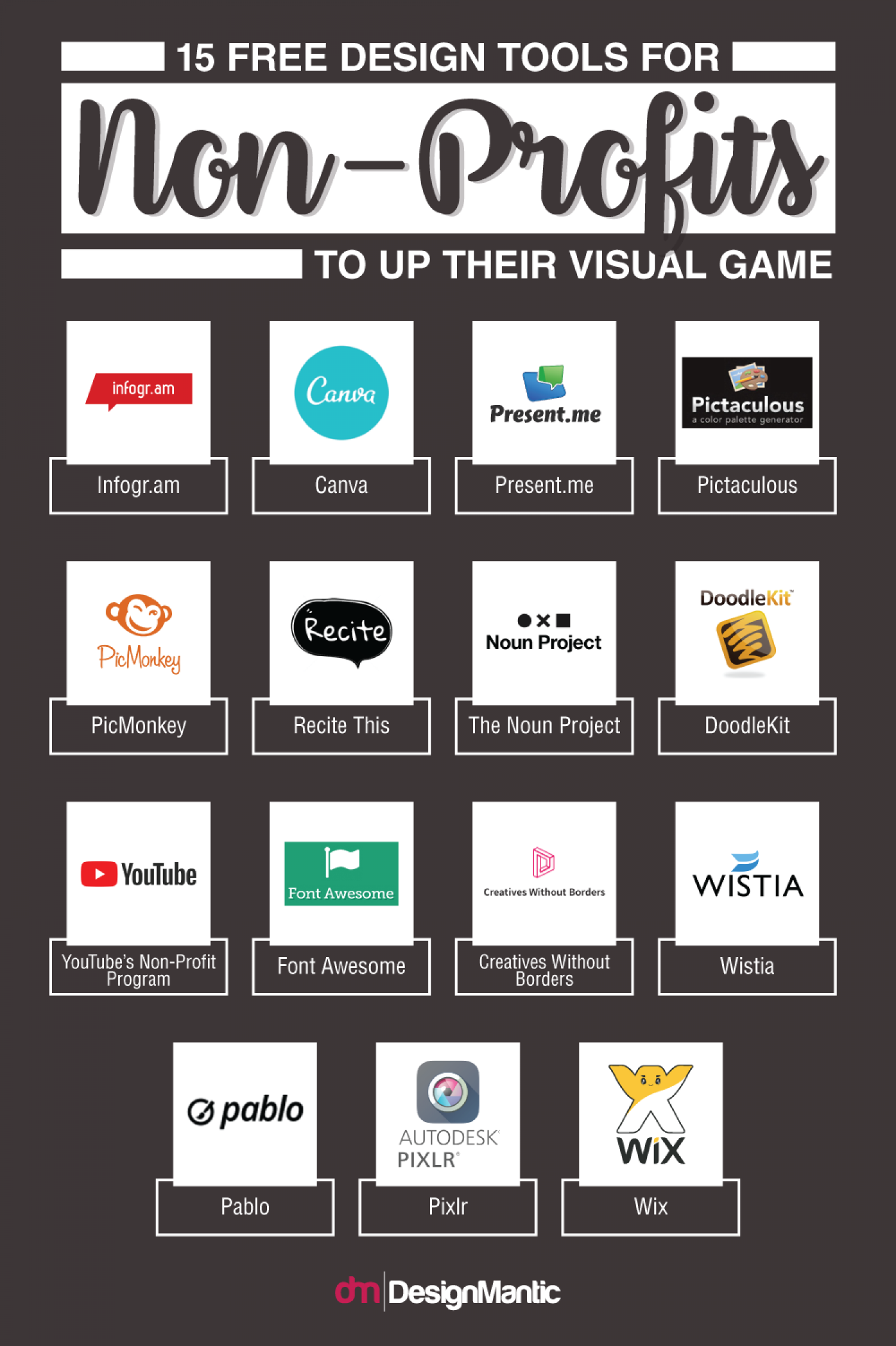 15 Free Design Tools For Non Profits To Up Their Visual Game! Infographic