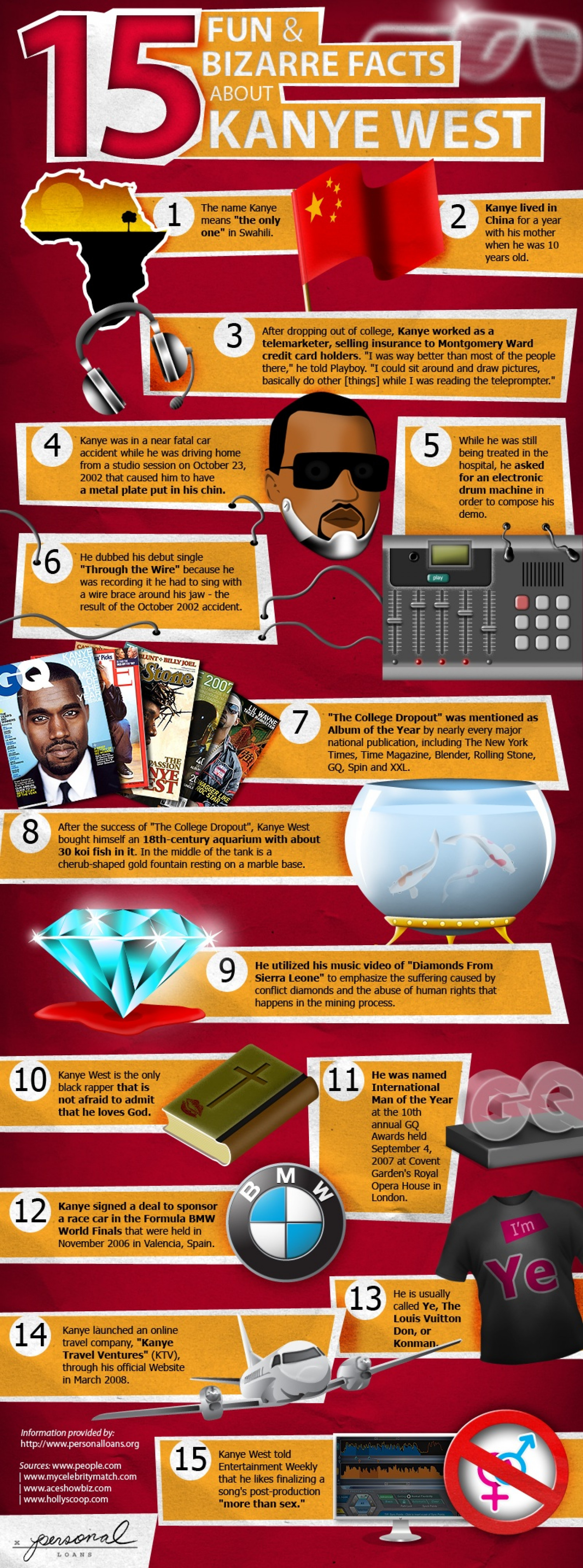 15 Fun & Bizarre Facts About Kanye West Infographic